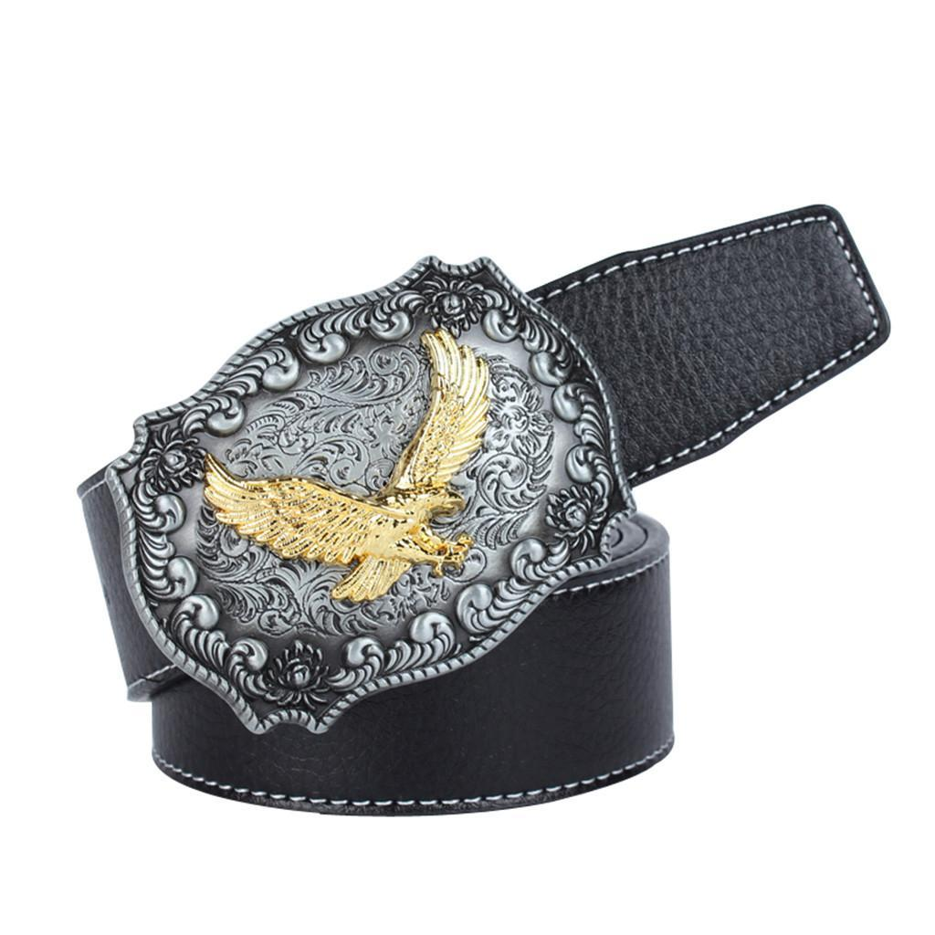 Western-Leather-Flying-Eagle-amp-Arabesque-Cowboy-Belt-Buckle-For-Men-Jeans thumbnail 4
