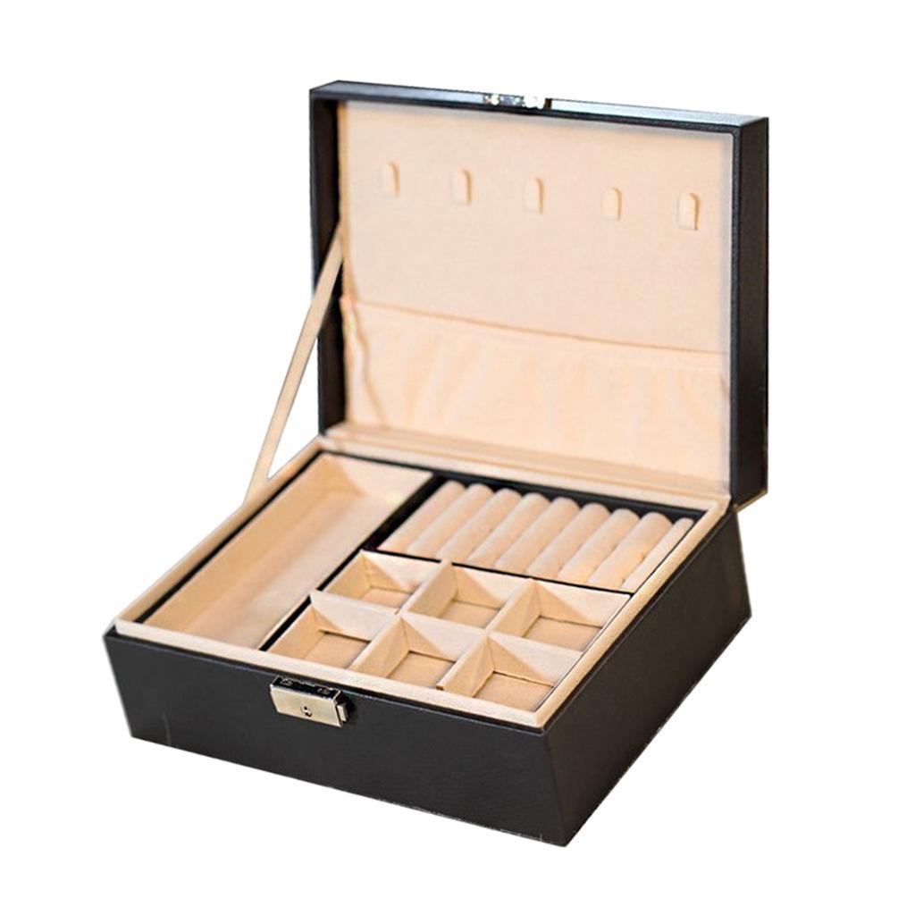 Boite-a-Bijoux-Boite-De-Bague-Multi-usages-Boucles-D-039-oreilles-Collier-Bijoux miniature 16