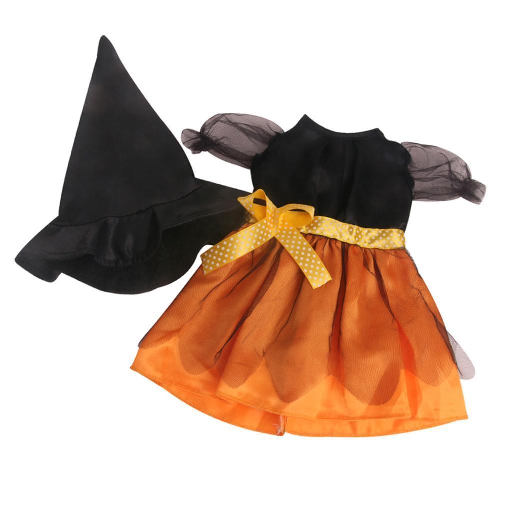 Set-Gonna-Per-Abiti-Di-Halloween-E-Berretto-Nero-Per-Bambola-18-Pollici miniatura 6