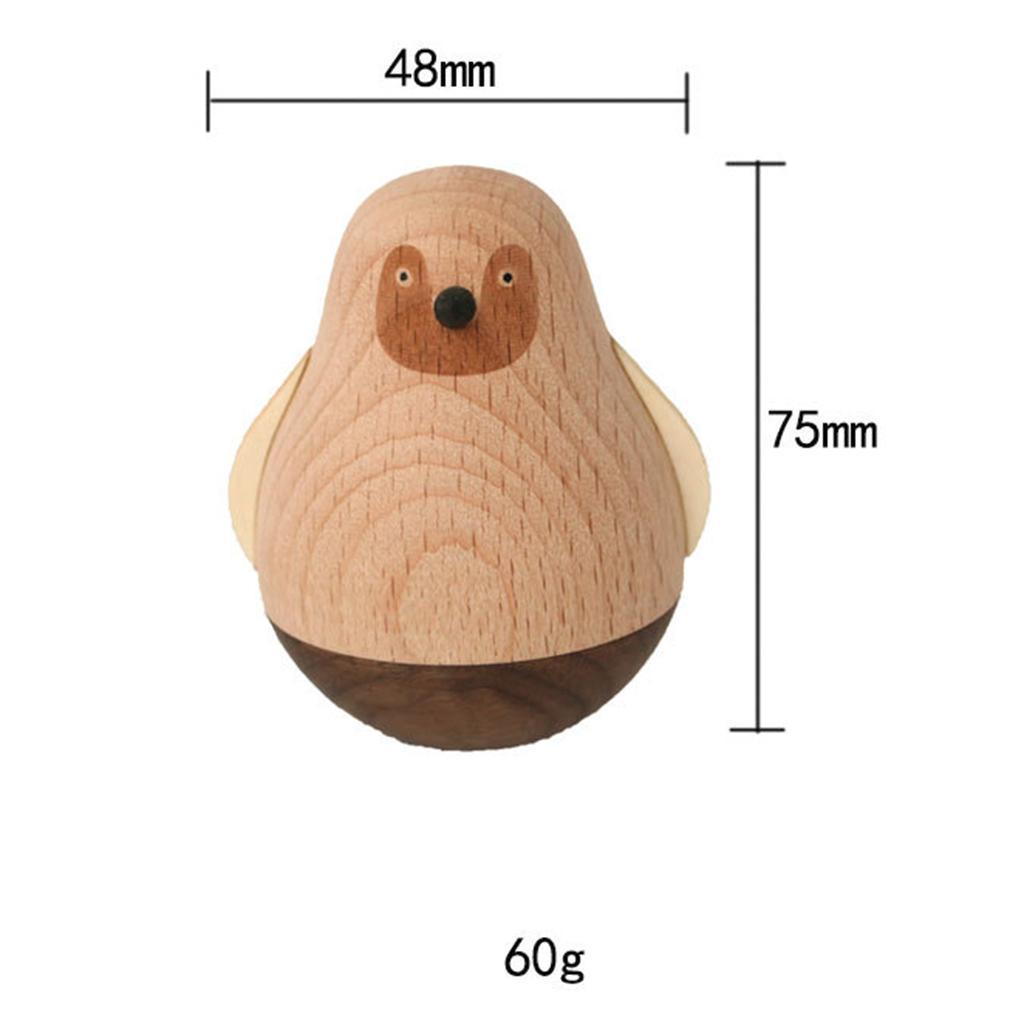 Wooden-Tumbler-Craft-Wood-Animal-Figure-Toy-Office-Desk-Decor-Ornament thumbnail 17