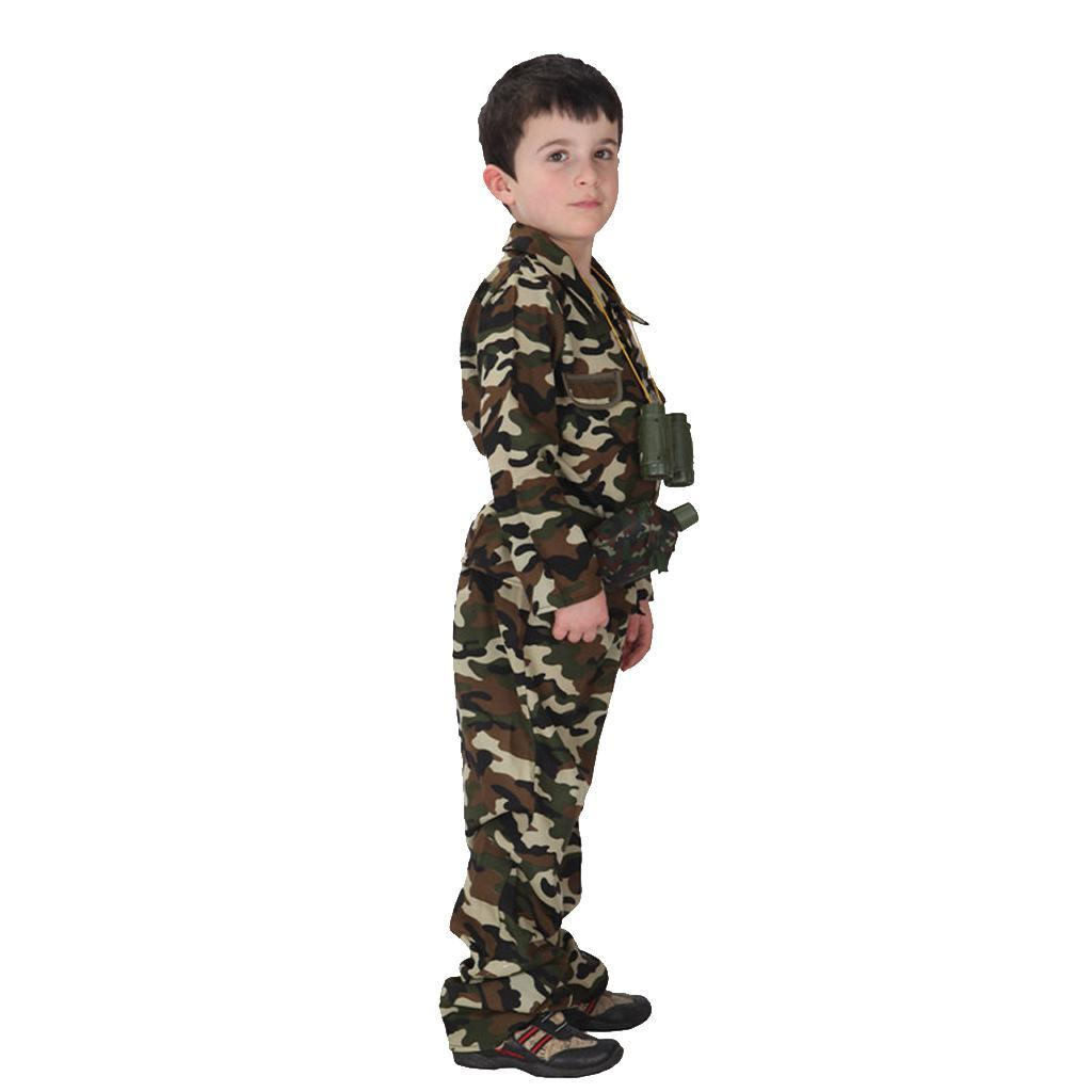 Cool-Kid-Boys-Army-Soldier-Costume-Uniform-Child-Party-Fancy-Dress-Outfits miniature 4