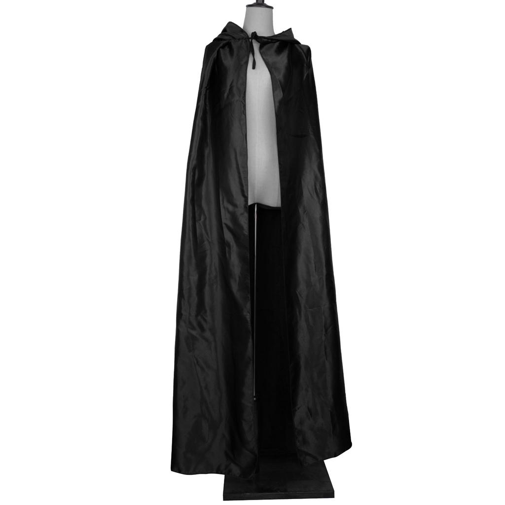 Adult/'s Velvet Hooded Cloak Gothic Devil Cape Medieval Witch Wizard Robe Costume