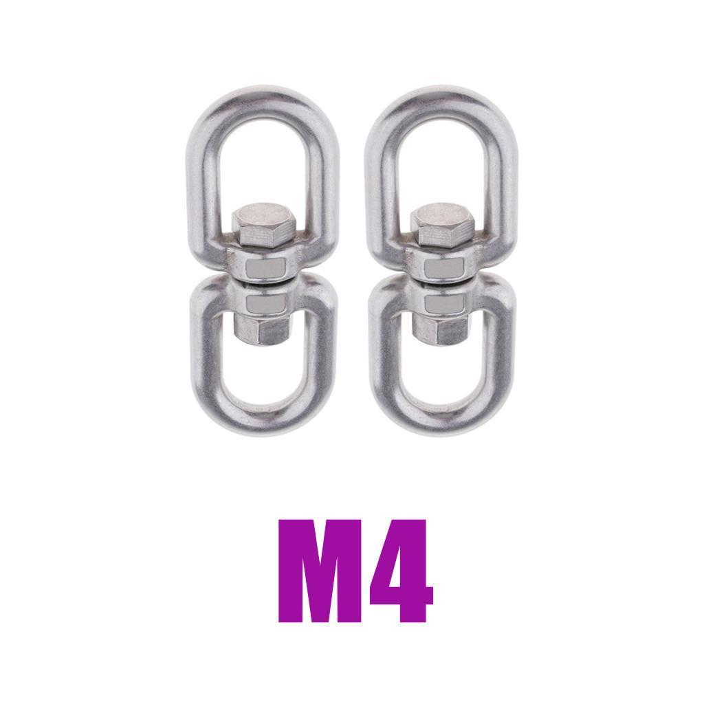 2x Stainless Steel Swivel Ring Adapter Hook Heavy-duty for Swings M8
