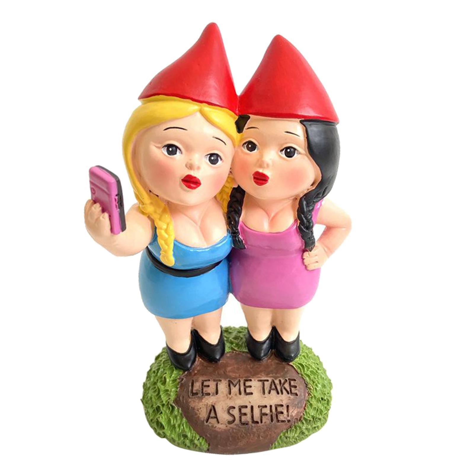 thumbnail 16 - Funny Resin Naughty Garden Gnome Statue Ornaments Villa Home Figurines Decor AU