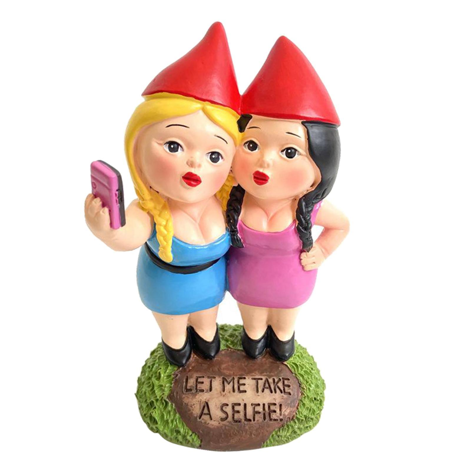 thumbnail 15 - Funny Resin Naughty Garden Gnome Statue Ornaments Villa Home Figurines Decor