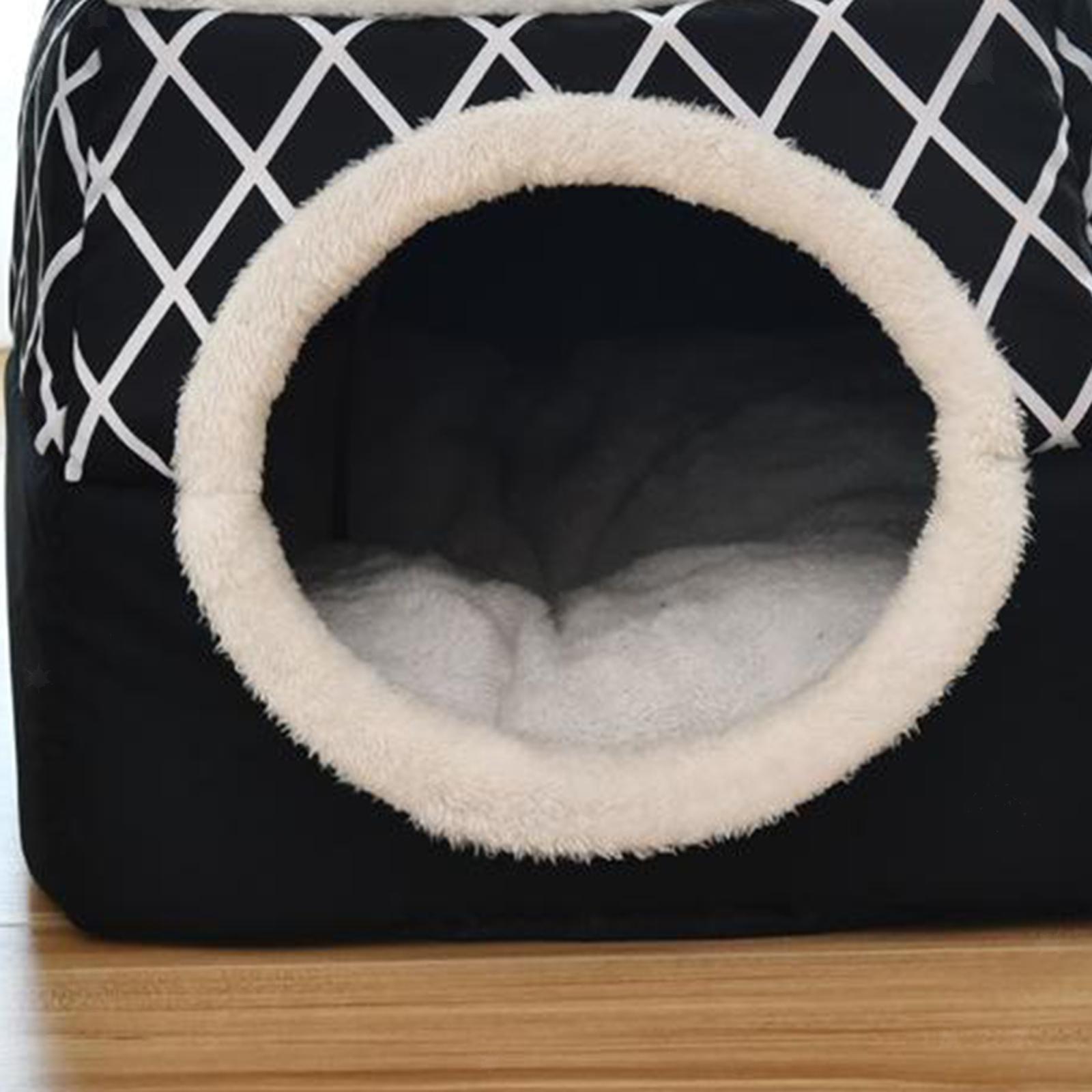 Indexbild 30 - 2-in-1-Weichen-Katzen-Haus-Schlafen-Bett-Zwinger-Puppy-Cave-Warme-Nest-Matte