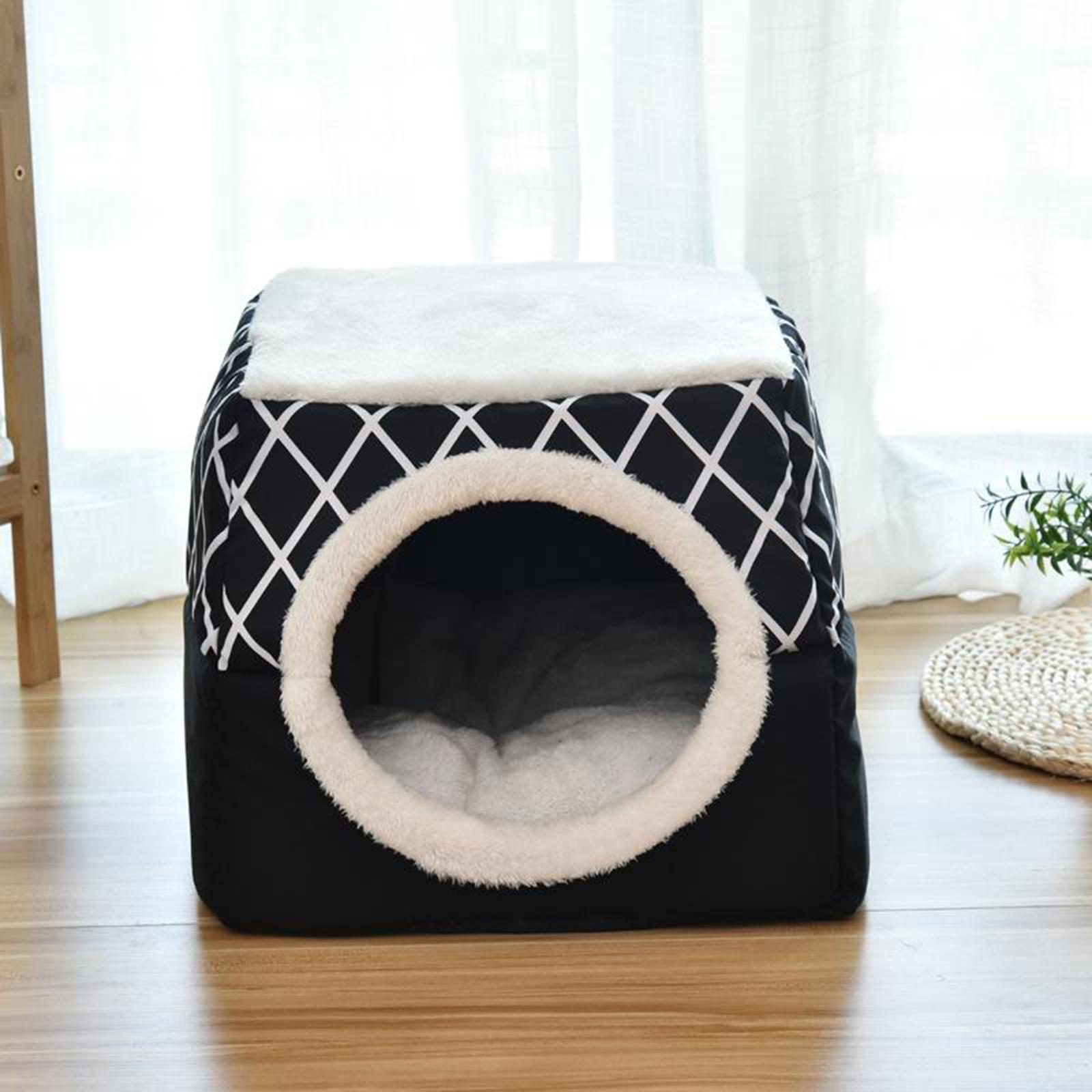 Indexbild 24 - 2-in-1-Weichen-Katzen-Haus-Schlafen-Bett-Zwinger-Puppy-Cave-Warme-Nest-Matte