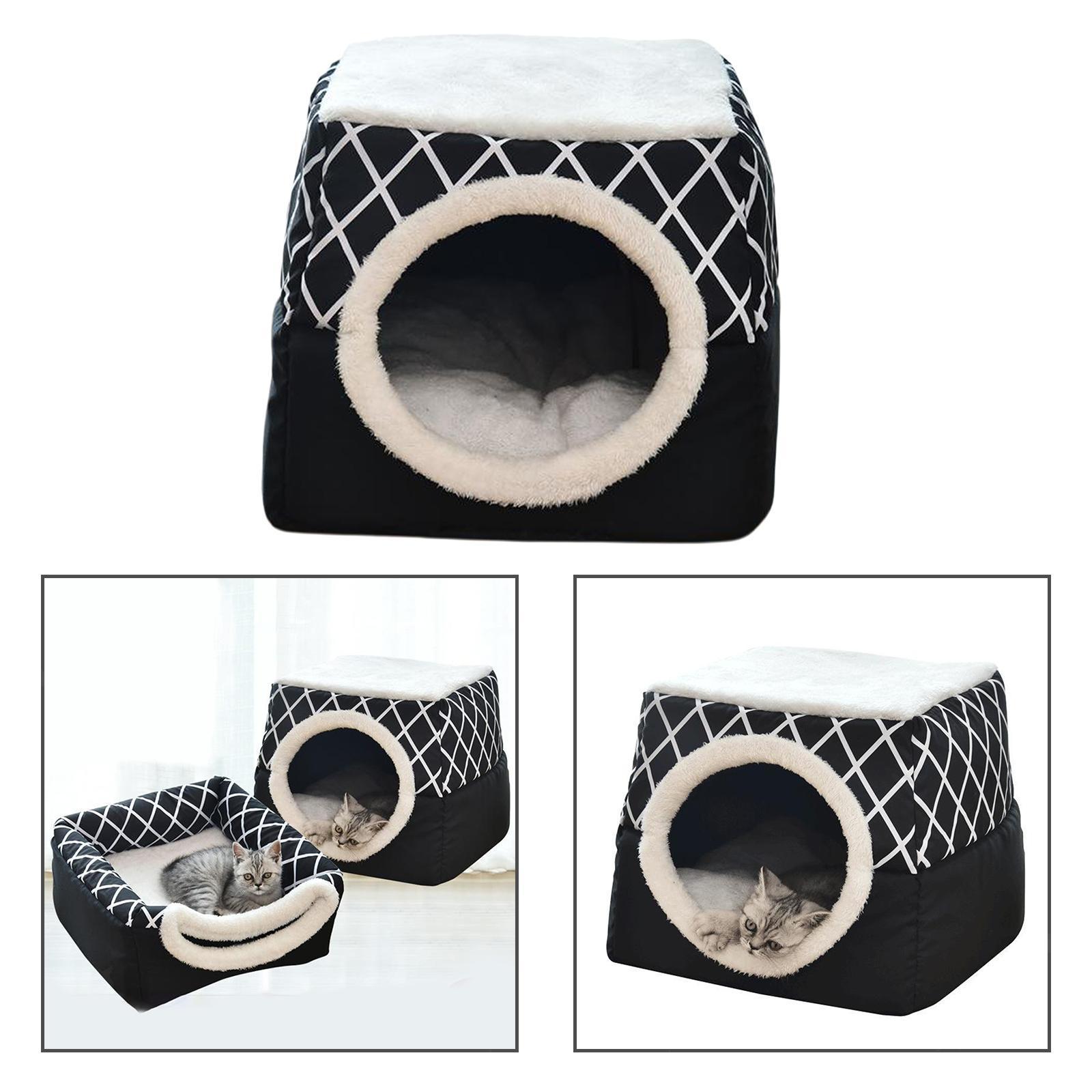 Indexbild 25 - 2-in-1-Weichen-Katzen-Haus-Schlafen-Bett-Zwinger-Puppy-Cave-Warme-Nest-Matte