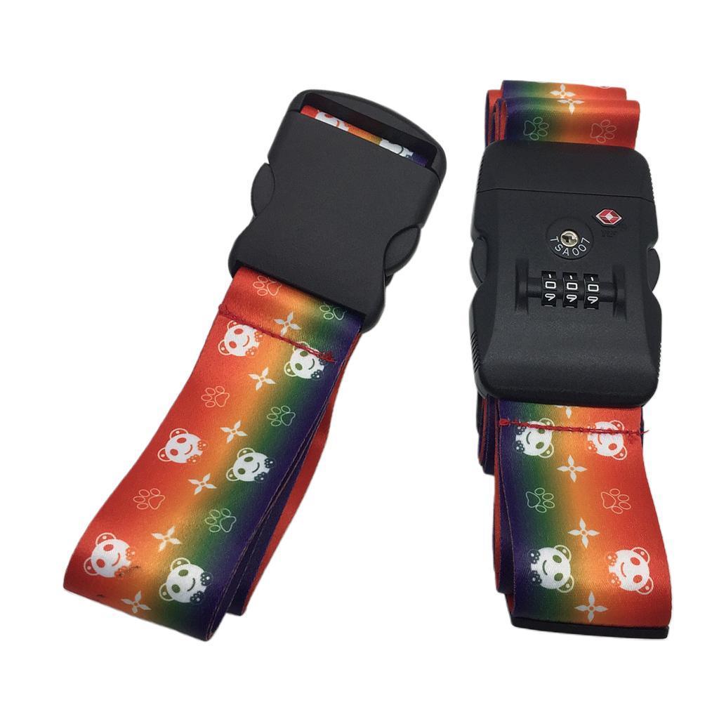 miniatura 7 - 2x Cinghie per bagagli da viaggio regolabili Cinture per valigie con lucchetto a