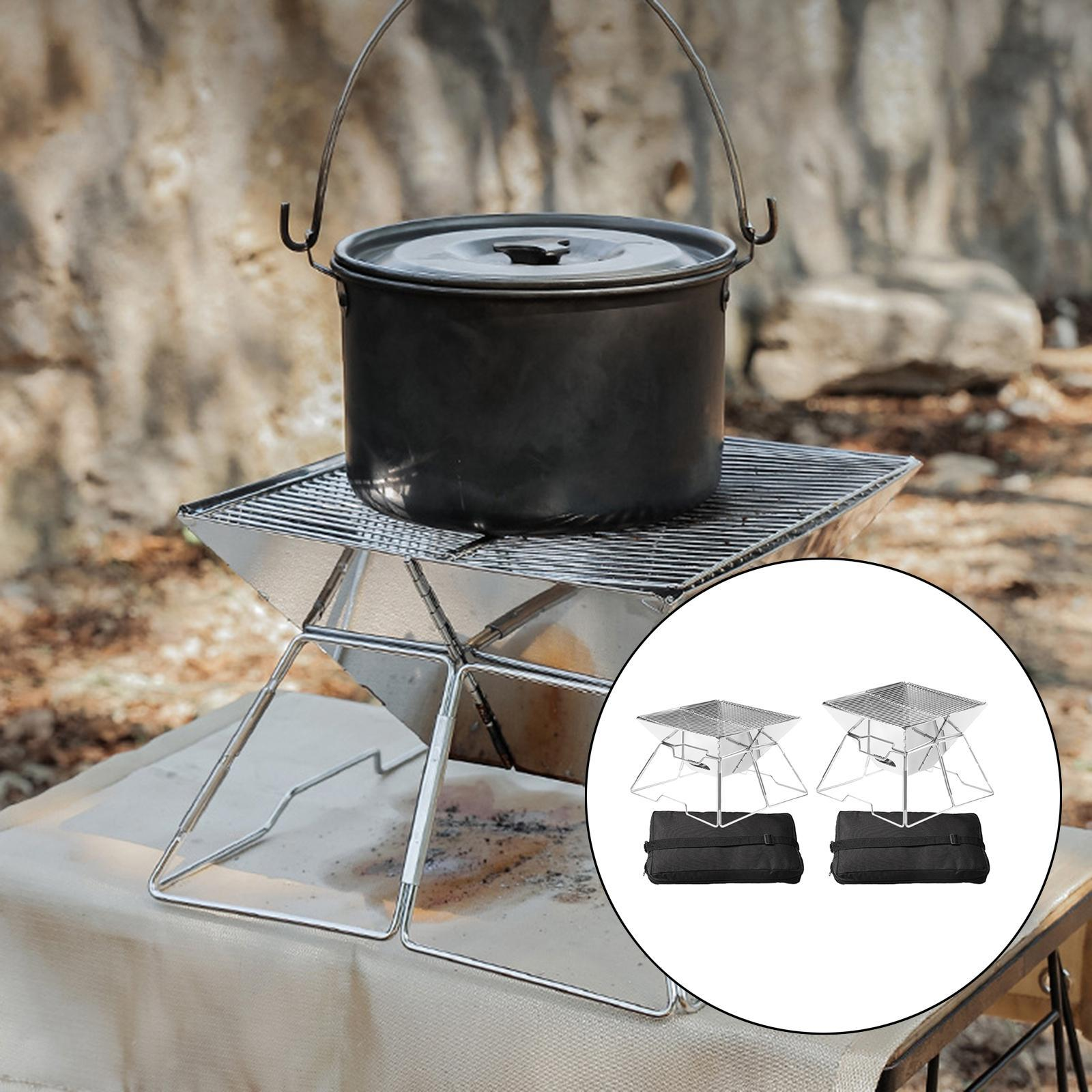 Folding Grill Stainless Steel Equipment Kabob Compact Charcoal Stove Picnic