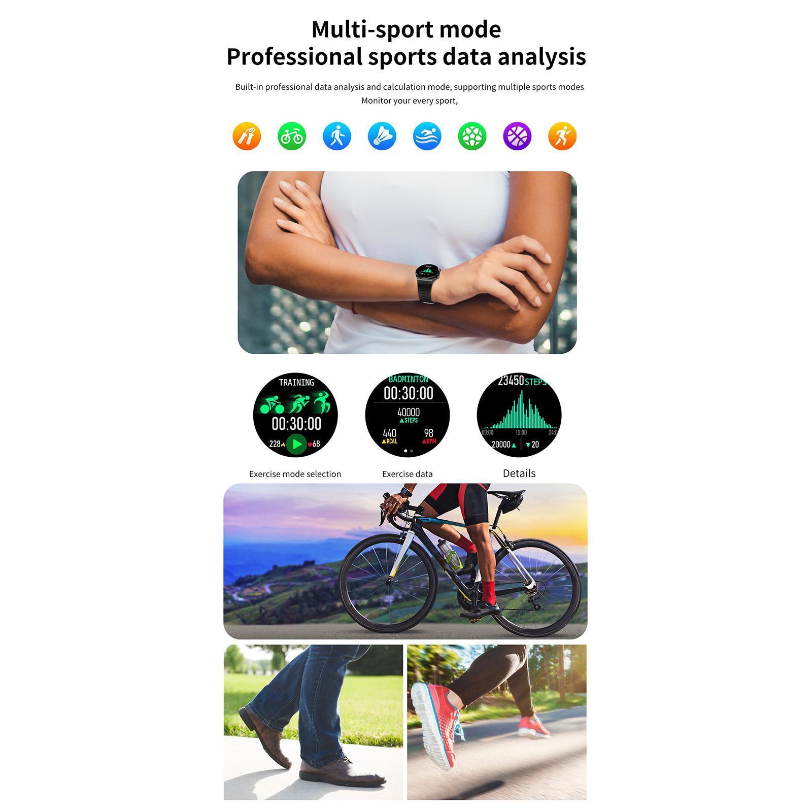 thumbnail 6 - Fashion Business Music Sports Men Smartwatch Waterproof Bluetooth Call Fitness