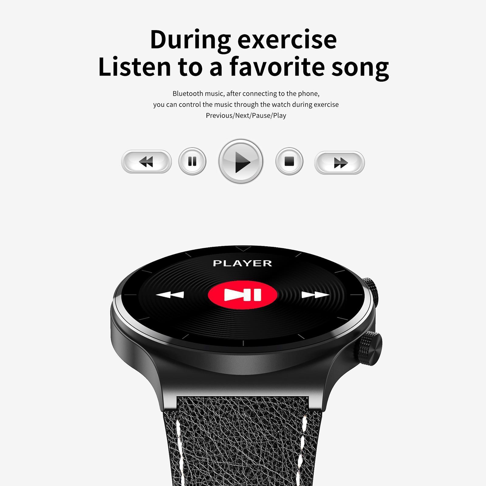 thumbnail 7 - Fashion Business Music Sports Men Smartwatch Waterproof Bluetooth Call Fitness
