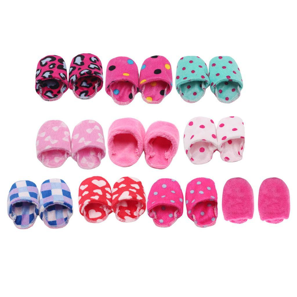 Multiple-Dotted-and-Love-Design-Slipper-Shoes-for-18inch-AG-American-Doll-Doll thumbnail 12