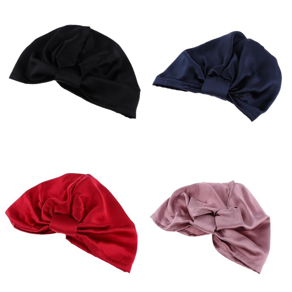 Women Ladies Silk Night Sleep Cap Long Hair Care Chemo Bonnet Headwrap Hat Soft