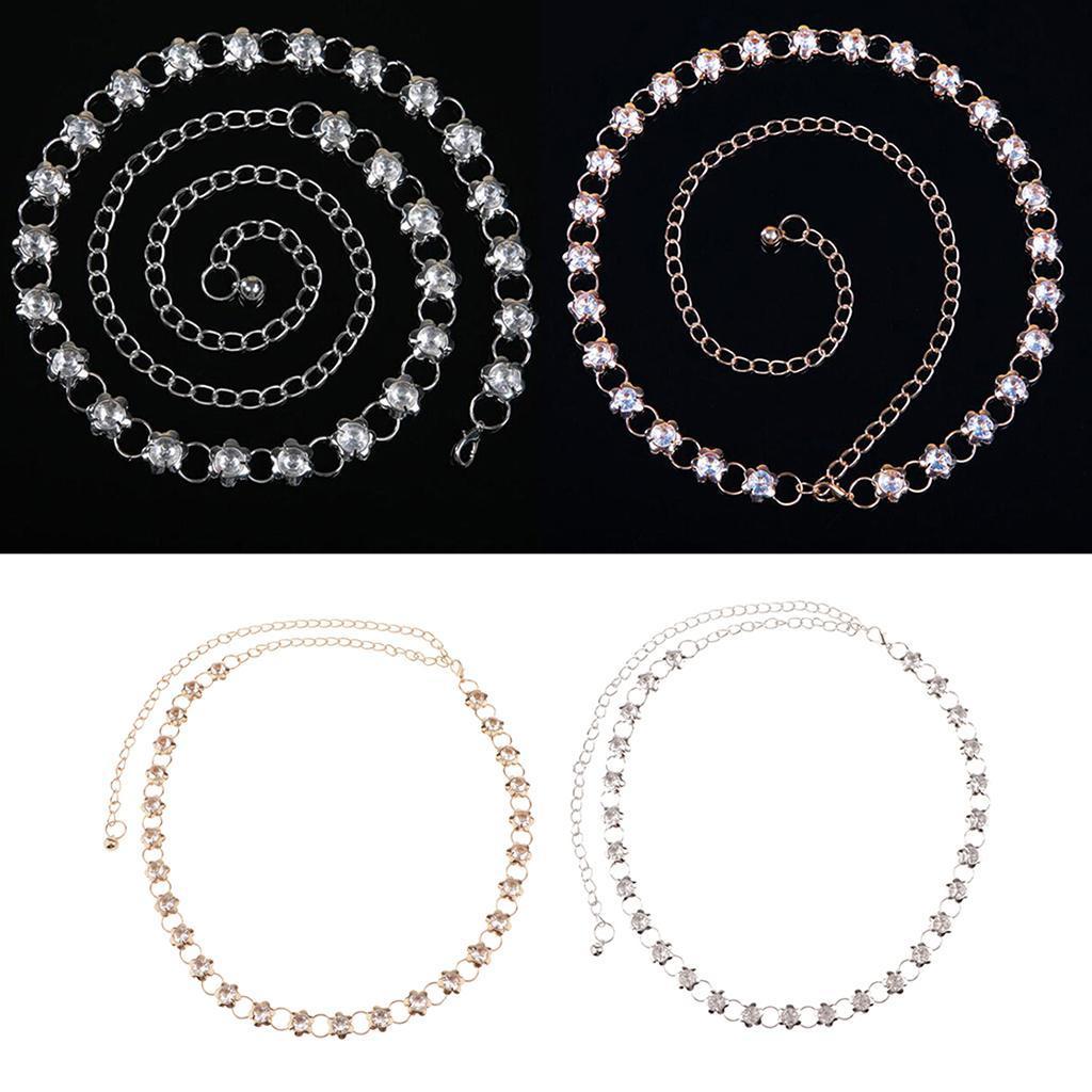 Crystal-Women-Shiny-Dress-Belt-Waist-Chain-Slim-Flower-Party-Club-Waistband thumbnail 4
