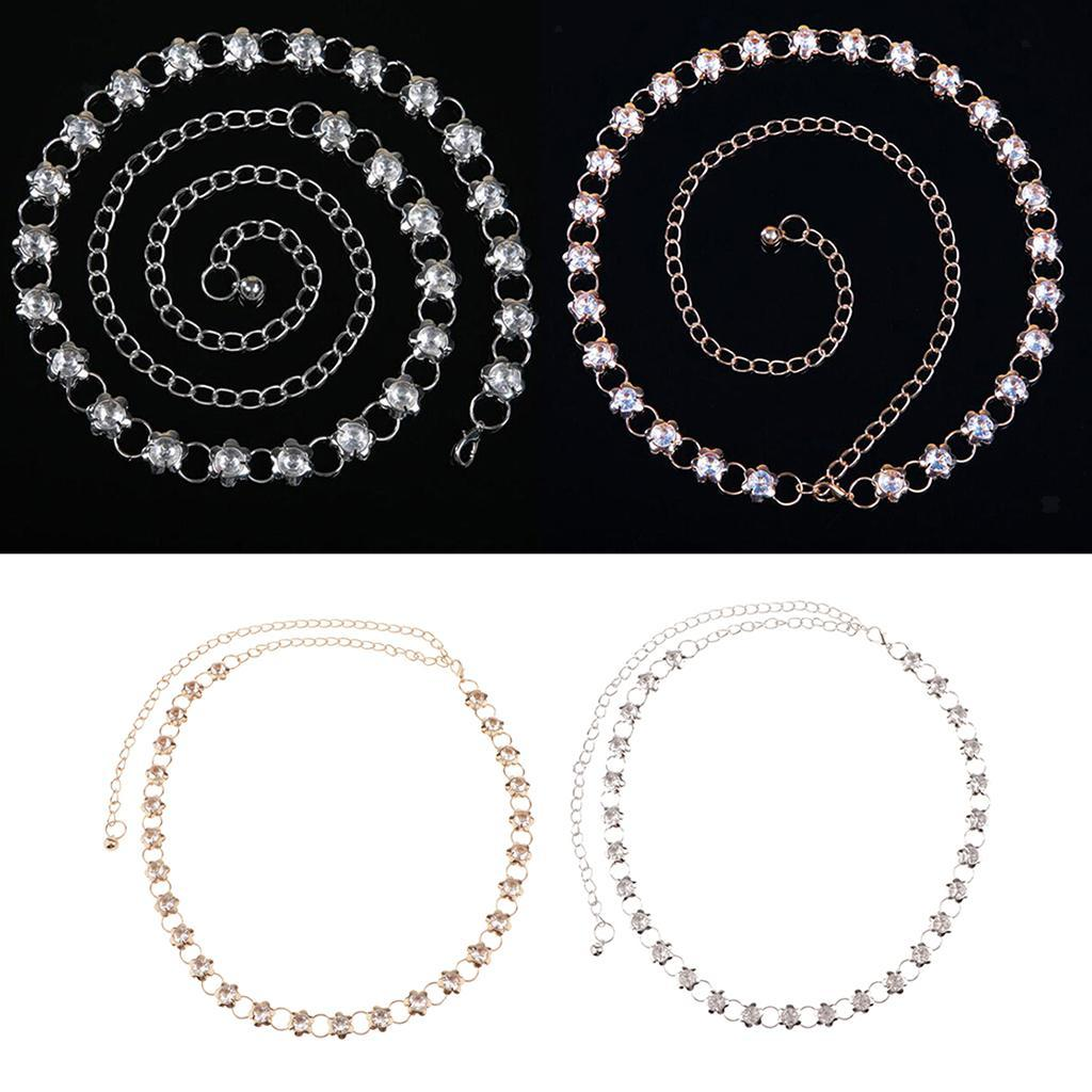 Rhinestone-Women-Metal-Belt-Dress-Waist-Chain-Flower-Club-Prom-Fashion-Charm thumbnail 4