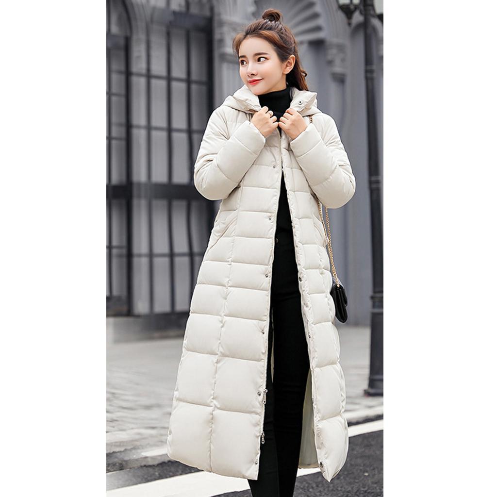 miniature 5 - Manteau long en duvet pour femmes avec col en fausse fourrure Veste matelassée