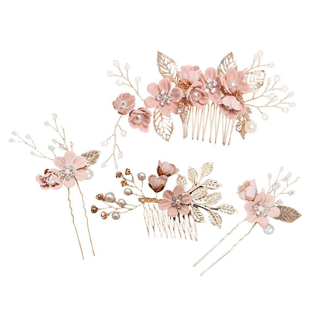4pcs-mariee-mariage-diapositive-cheveux-peigne-clip-laisse-epingle-a-cheveux miniature 4