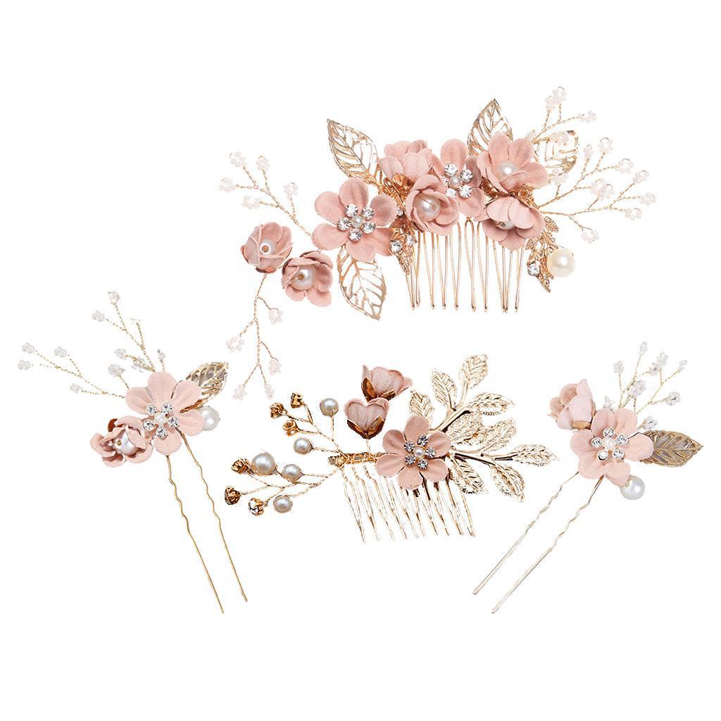 4pcs-mariee-mariage-diapositive-cheveux-peigne-clip-laisse-epingle-a-cheveux miniature 3