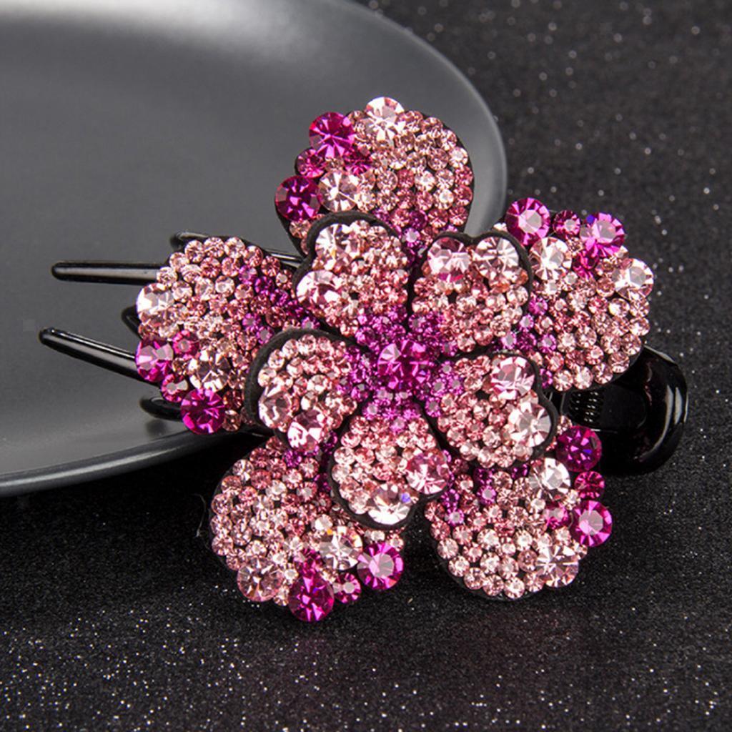 Flower Hair Jaw Clip Clamp Slide Hairpin Rhinestone Hair Claw Grip Bling Crystal