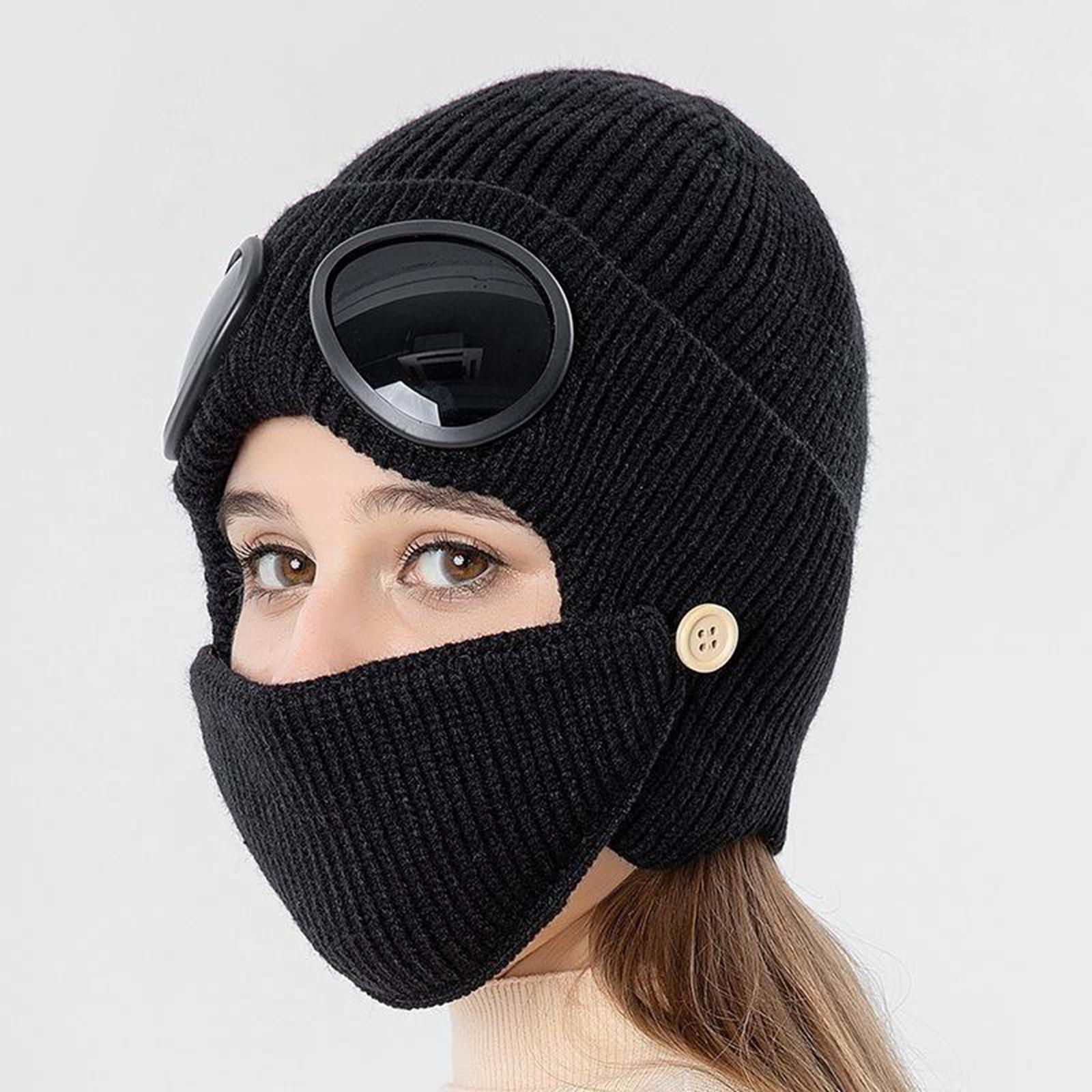 miniature 5 - Masque de tête de visage hiver bonnet chaud avec lunettes casquette d'oreille