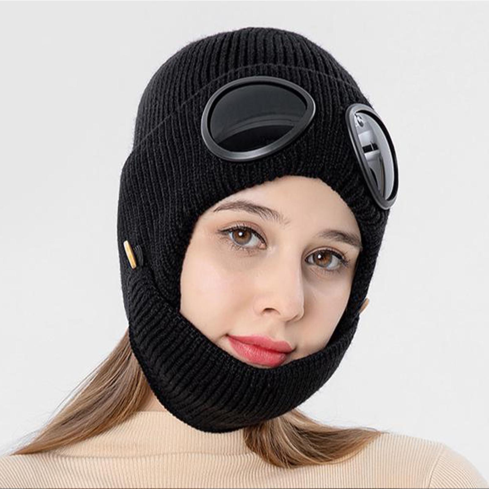 miniature 6 - Masque de tête de visage hiver bonnet chaud avec lunettes casquette d'oreille
