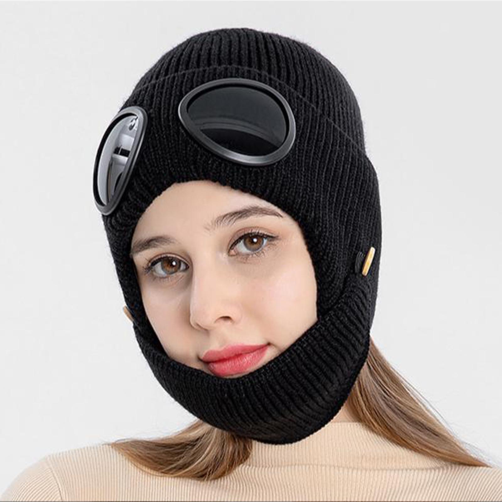 miniature 7 - Masque de tête de visage hiver bonnet chaud avec lunettes casquette d'oreille
