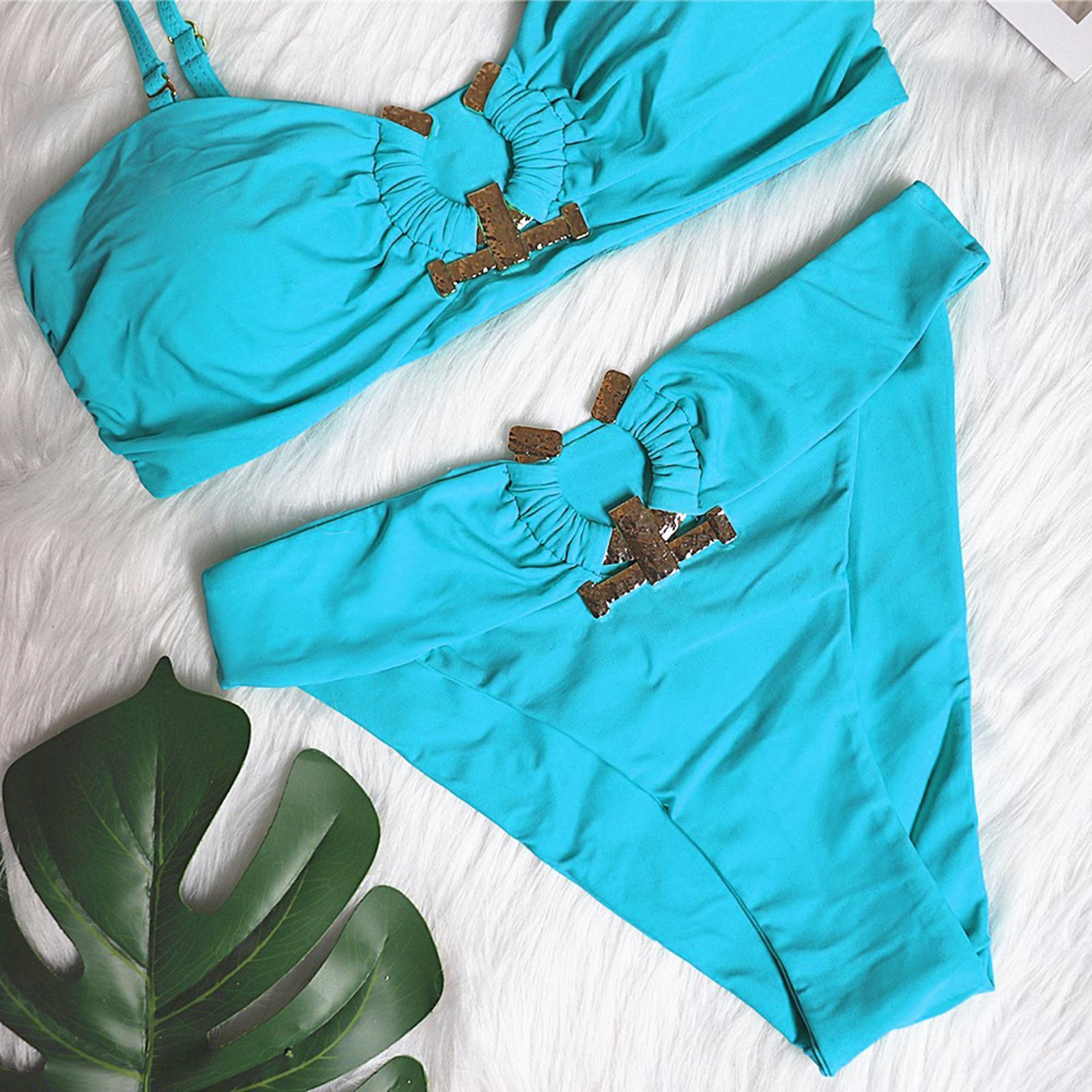 Indexbild 143 - Zwei Stücke Bikini Set Strappy Bademode Party Badeanzug Tankini Bademode