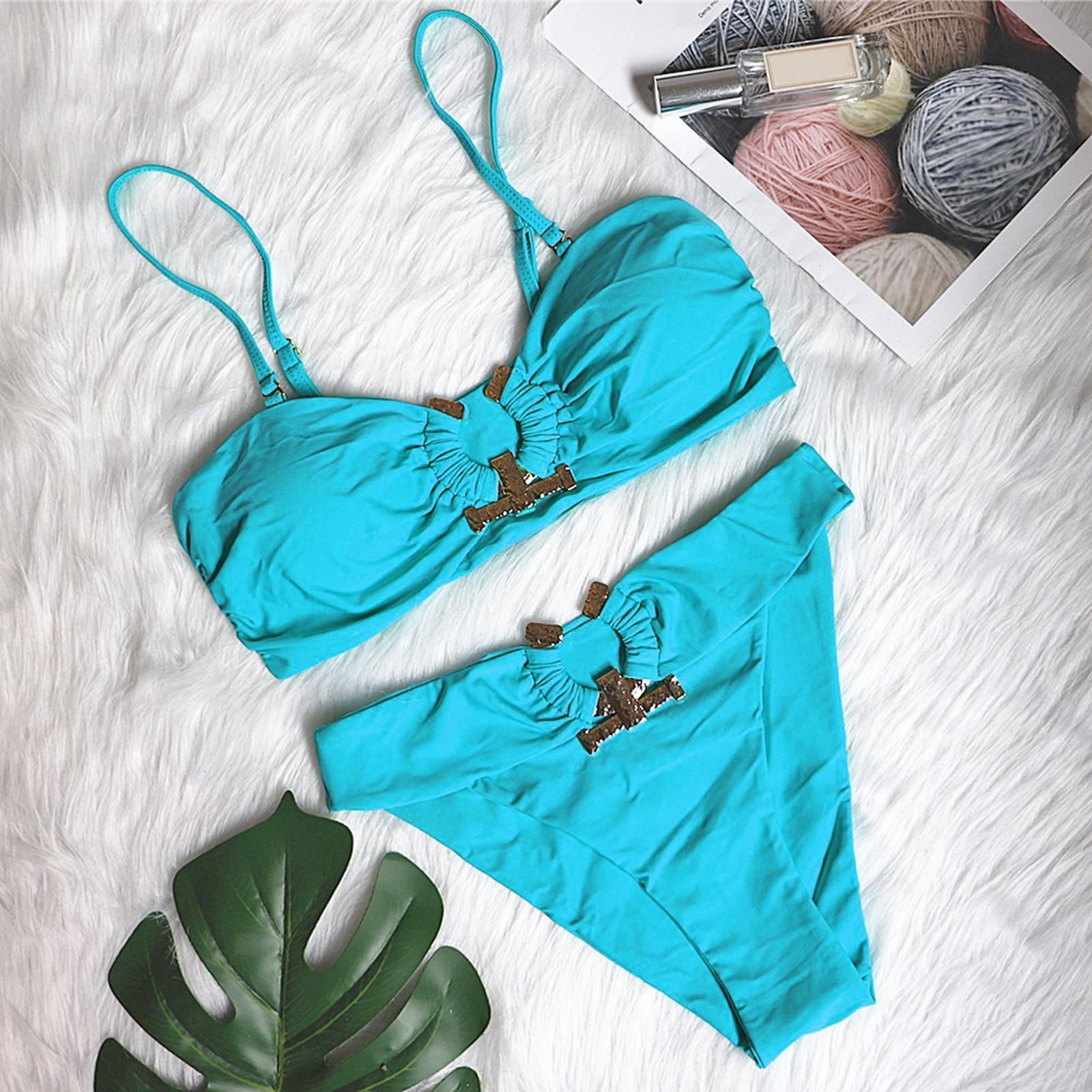 Indexbild 137 - Zwei Stücke Bikini Set Strappy Bademode Party Badeanzug Tankini Bademode