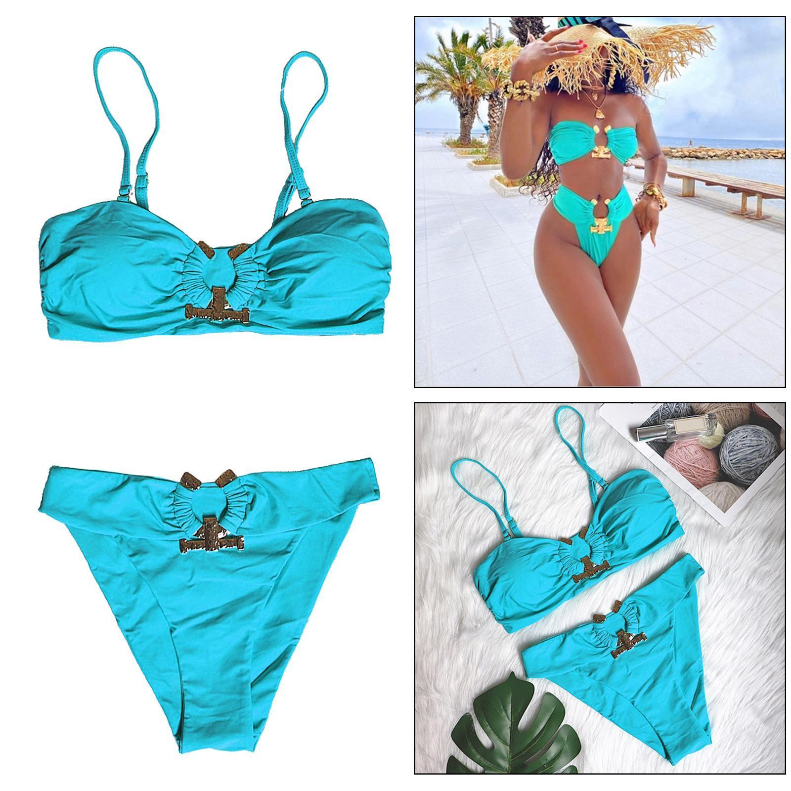 Indexbild 138 - Zwei Stücke Bikini Set Strappy Bademode Party Badeanzug Tankini Bademode