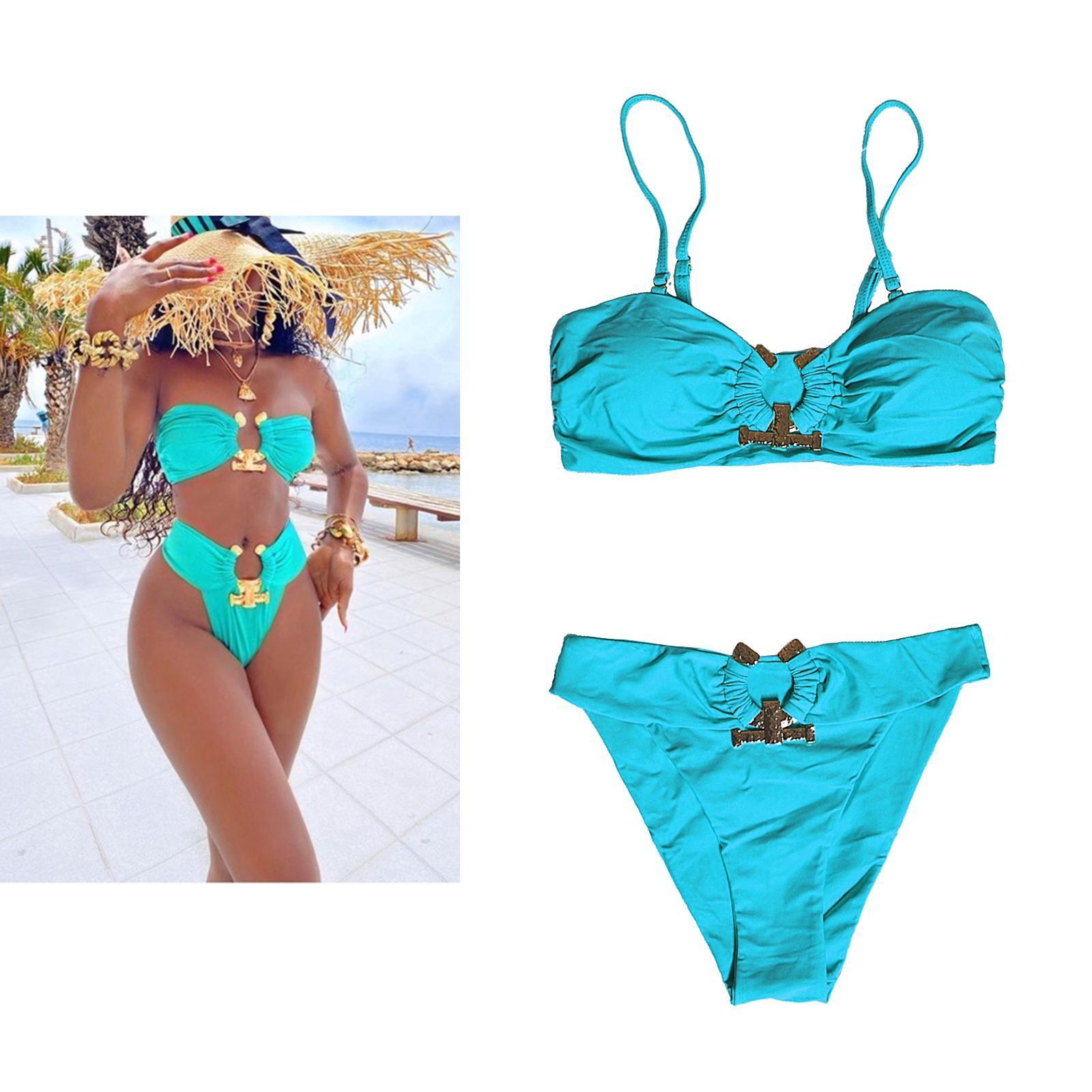 Indexbild 136 - Zwei Stücke Bikini Set Strappy Bademode Party Badeanzug Tankini Bademode