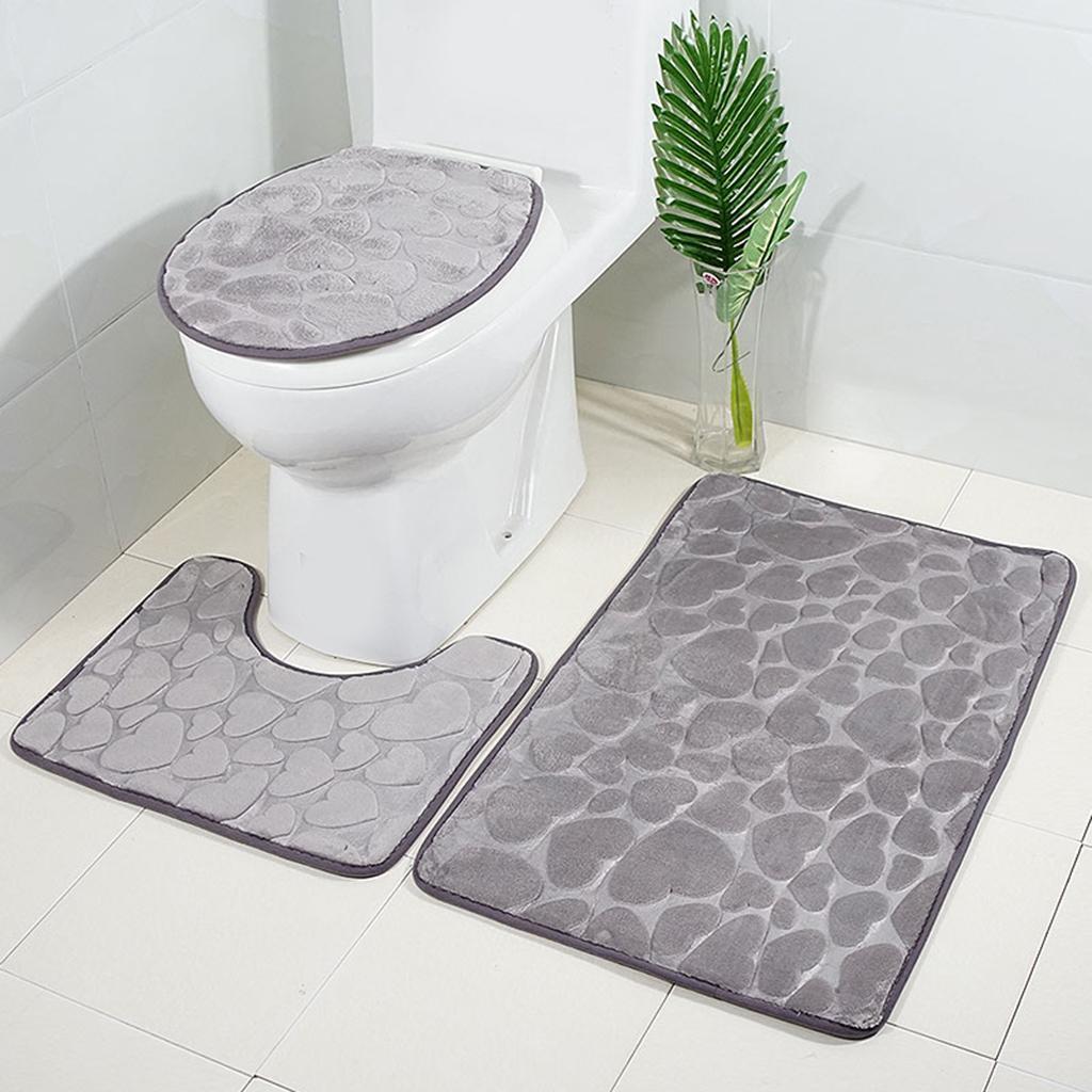 Badgarnitur-3-teilig-WC-Badvorleger-Duschmatte-Badeteppich-Badematte Indexbild 16