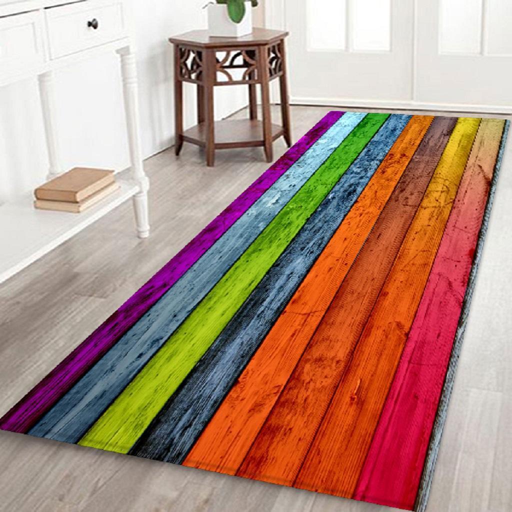 Rustic Wood Planks Floor Carpet Area Rug Mats for Kitchen Bathroom Laundry