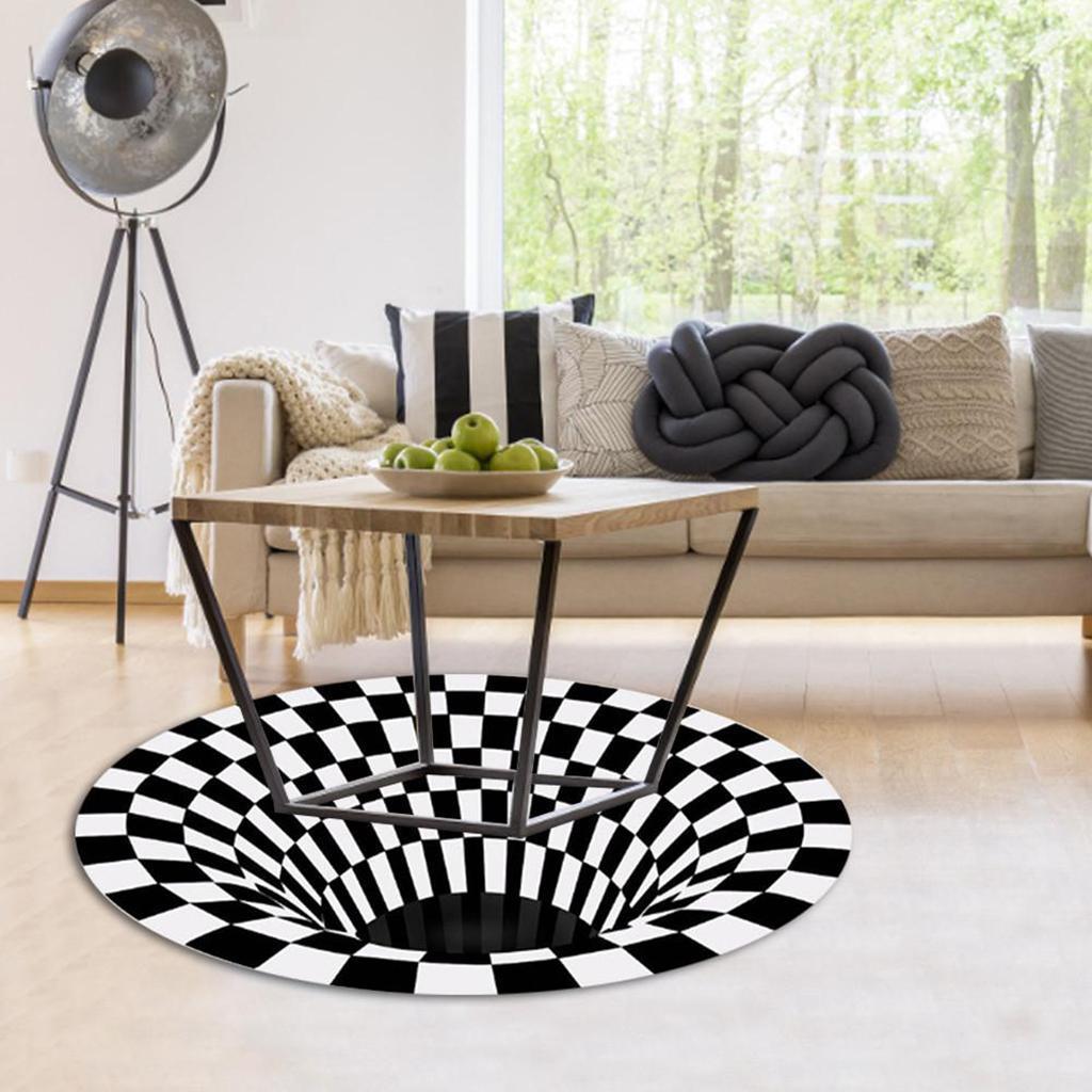 Nero-Bianco-Griglia-Tappeto-3D-Illusion-Vortice-Camera-Da-Letto-Anti-Pavimento miniatura 10