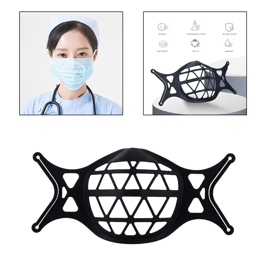 Mask Bracket Protect Lipstick for Breathing More Space Reusable Black