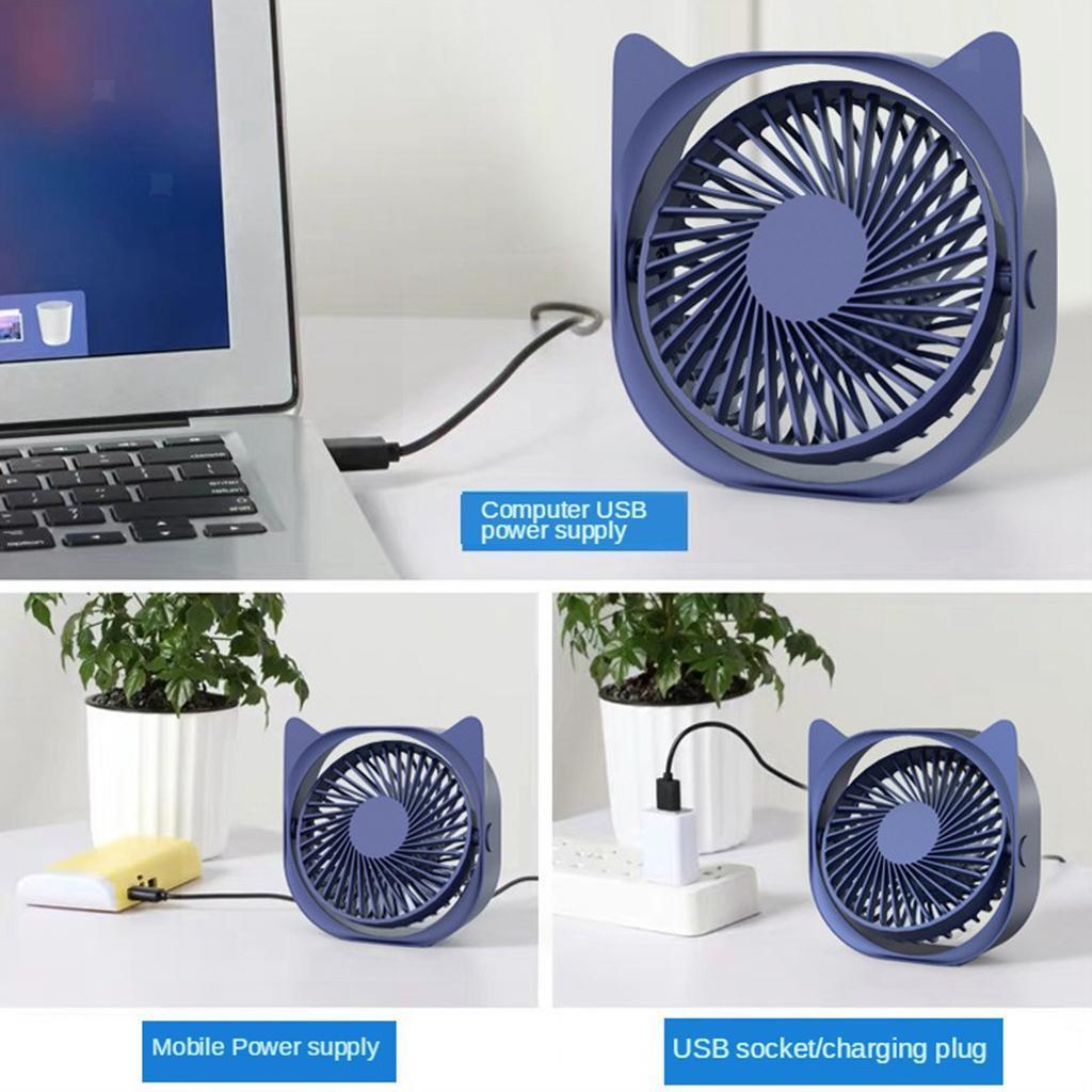 Mini-Ventilateur-electrique-Portatif-Silencieux-De-Rotation-De-360-Degres-De miniature 3