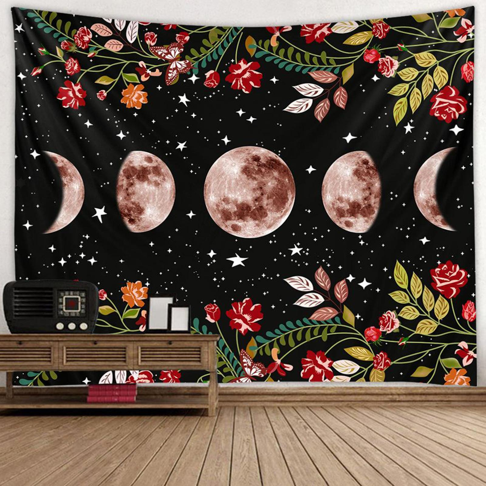 Arazzo-da-giardino-Moon-Star-Arazzi-Fiore-Vine-Arazzo-da-parete-Sfondo-nero miniatura 4