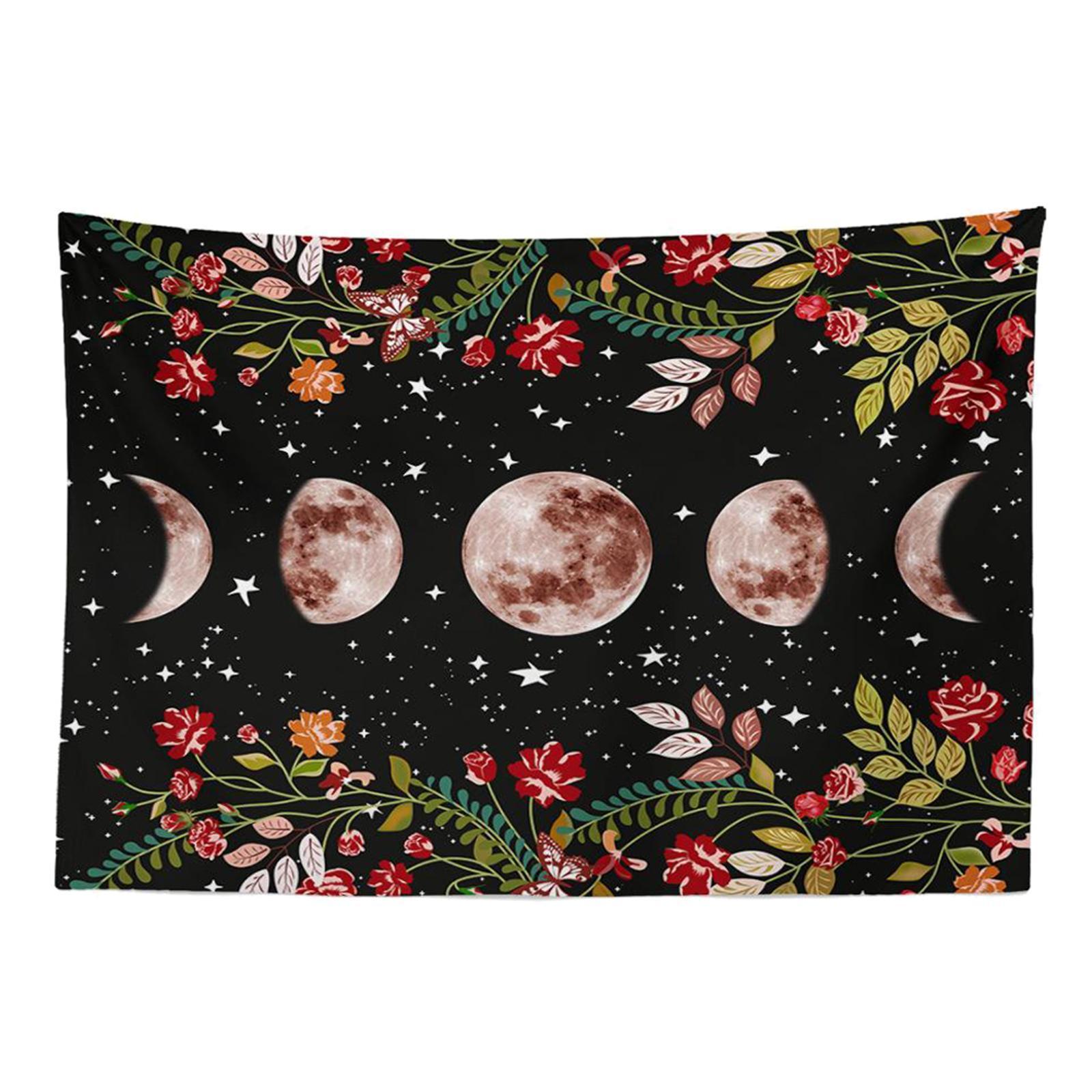 Arazzo-da-giardino-Moon-Star-Arazzi-Fiore-Vine-Arazzo-da-parete-Sfondo-nero miniatura 3