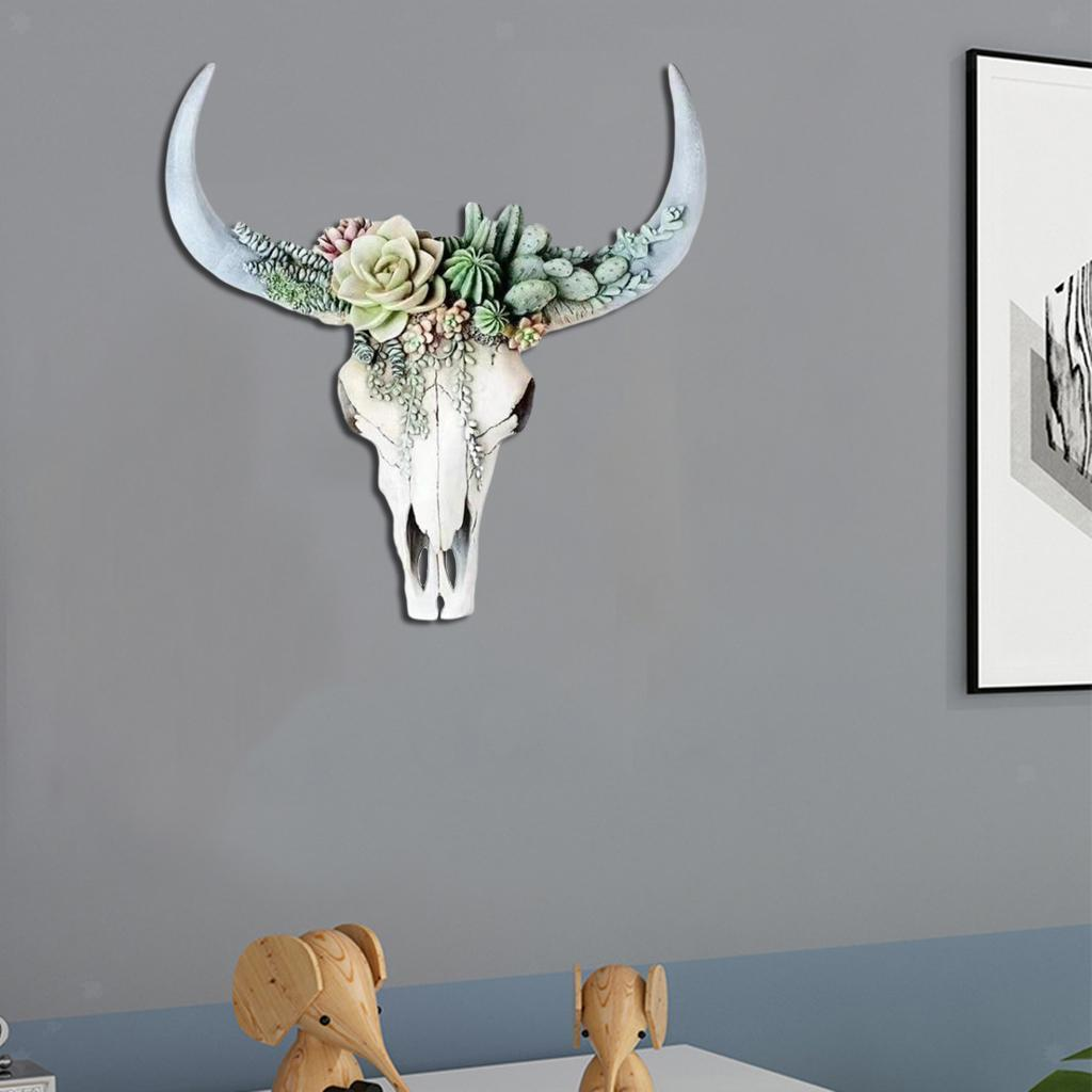 miniatura 4 - Longhorn Appeso A Parete Scultura Vivid Testa di Animale Opere D'arte