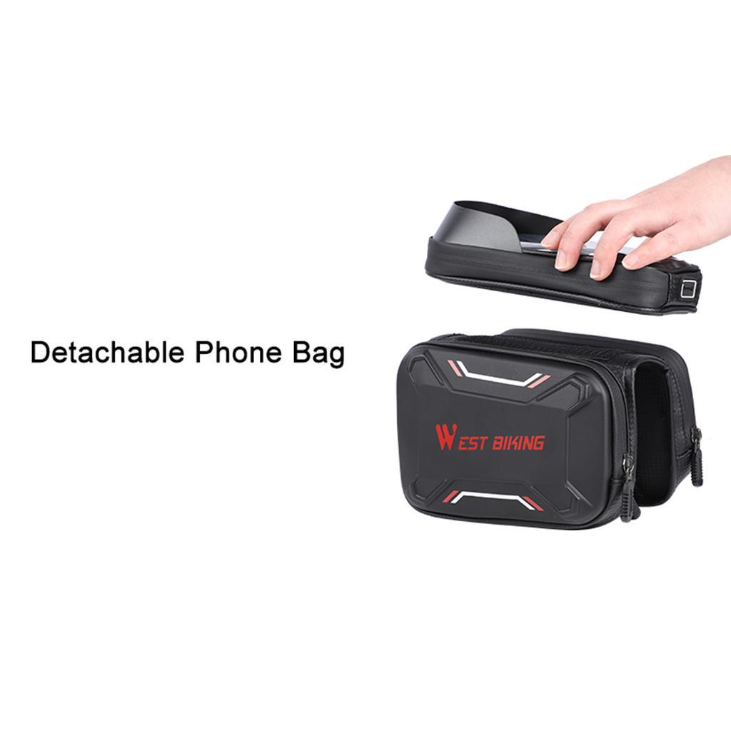 Bicycle-Front-Beam-Bag-Waterproof-Mountain-Bike-Saddle-Bag-Phone-Case-Pouch thumbnail 9
