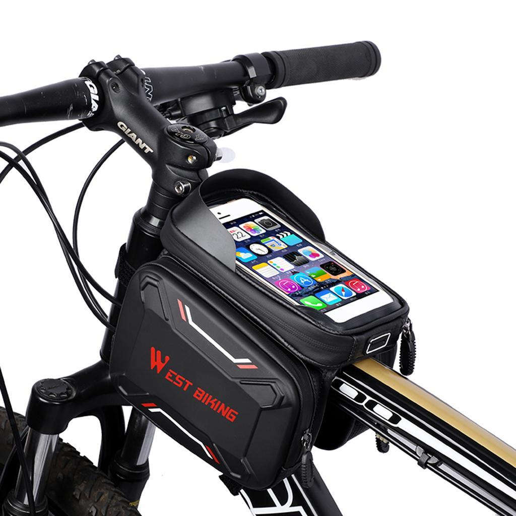 Bicycle-Front-Beam-Bag-Waterproof-Mountain-Bike-Saddle-Bag-Phone-Case-Pouch thumbnail 4