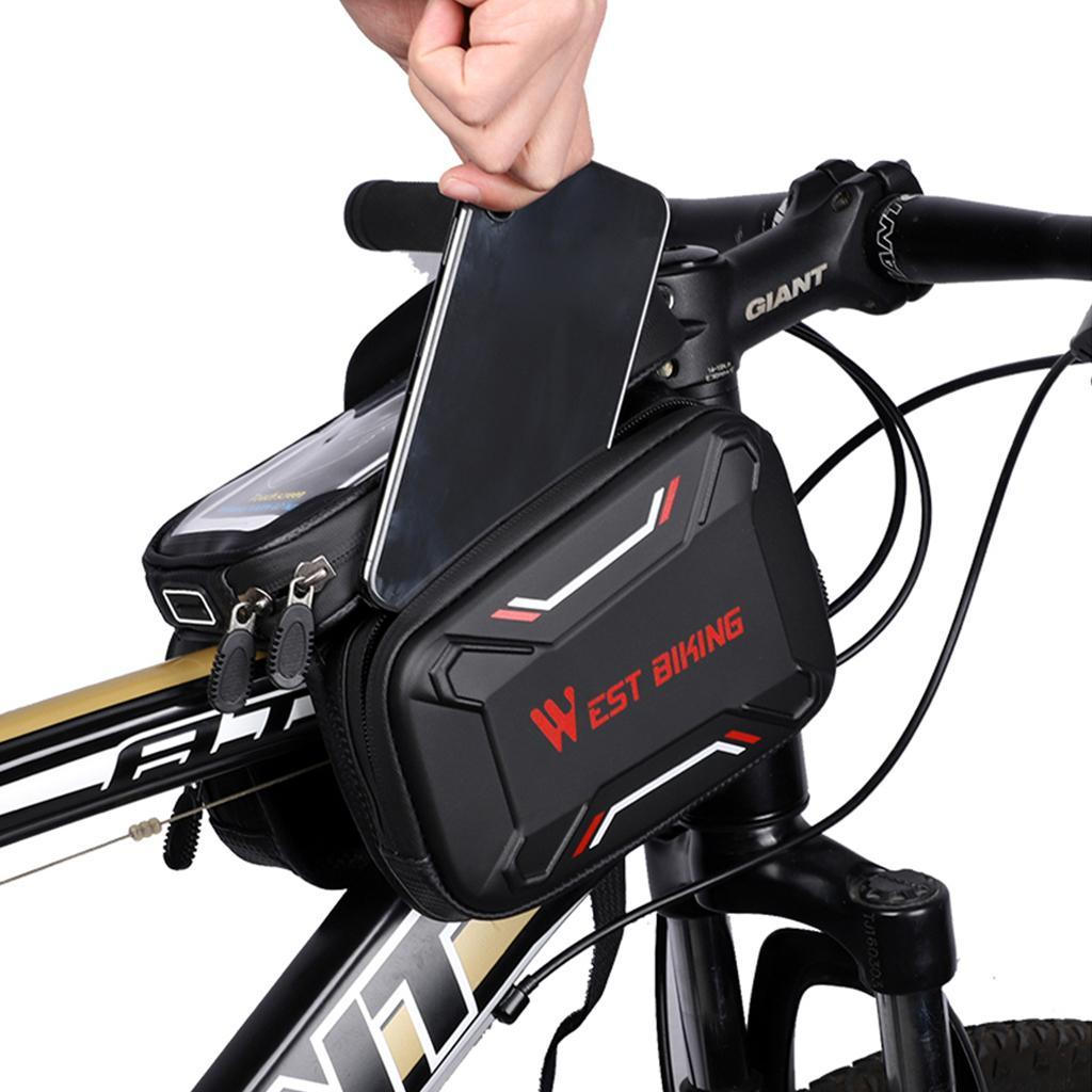 Bicycle-Front-Beam-Bag-Waterproof-Mountain-Bike-Saddle-Bag-Phone-Case-Pouch thumbnail 5