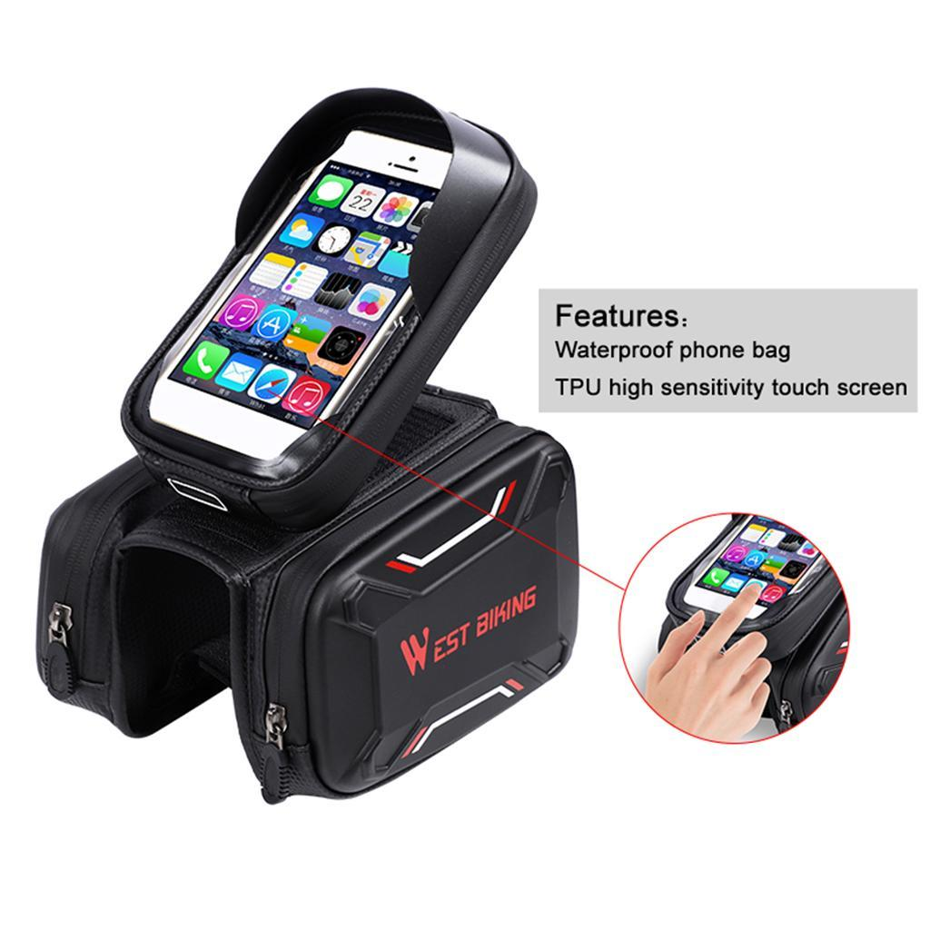 Bicycle-Front-Beam-Bag-Waterproof-Mountain-Bike-Saddle-Bag-Phone-Case-Pouch thumbnail 6