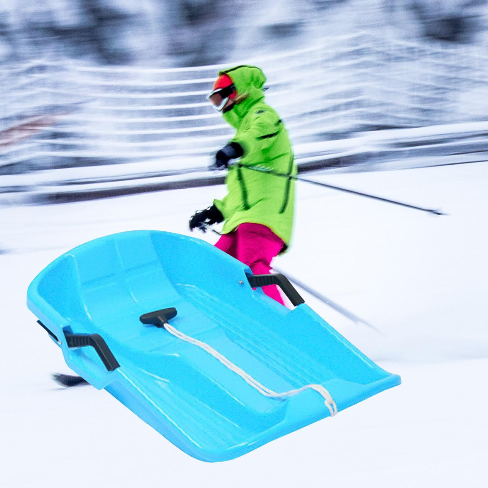 thumbnail 6 - Large Kids Adults Snow Sledge Sleigh Sled Toboggan Pull Rope Downhill Board
