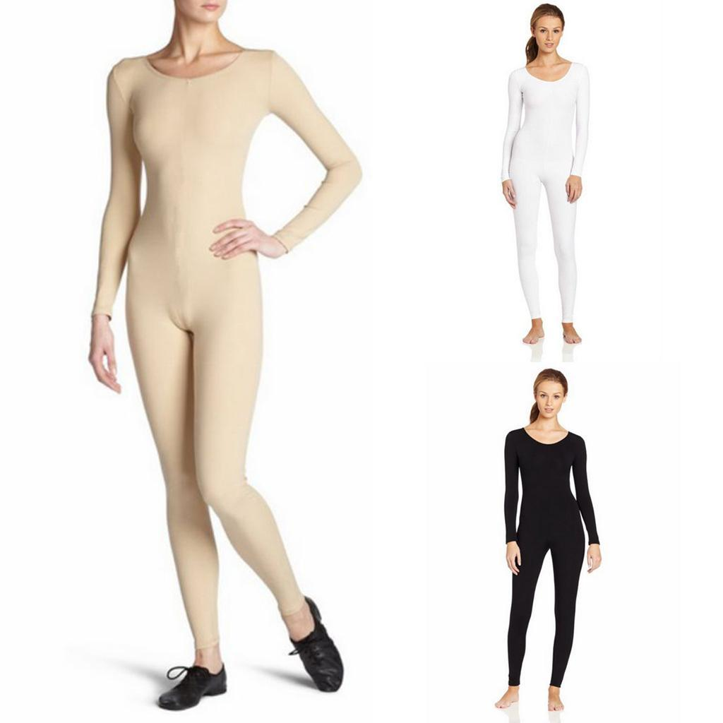 Scoop-Neck-Full-Body-Dance-Unitard-Bodysuit-Costume-Long-Sleeve-Unitard-Womens thumbnail 28