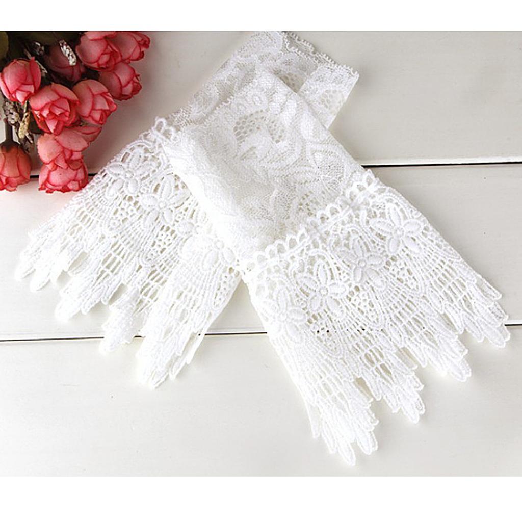 Girls Hollow Lace Cuffs Detachable False Sleeves Wristband Costume Decor