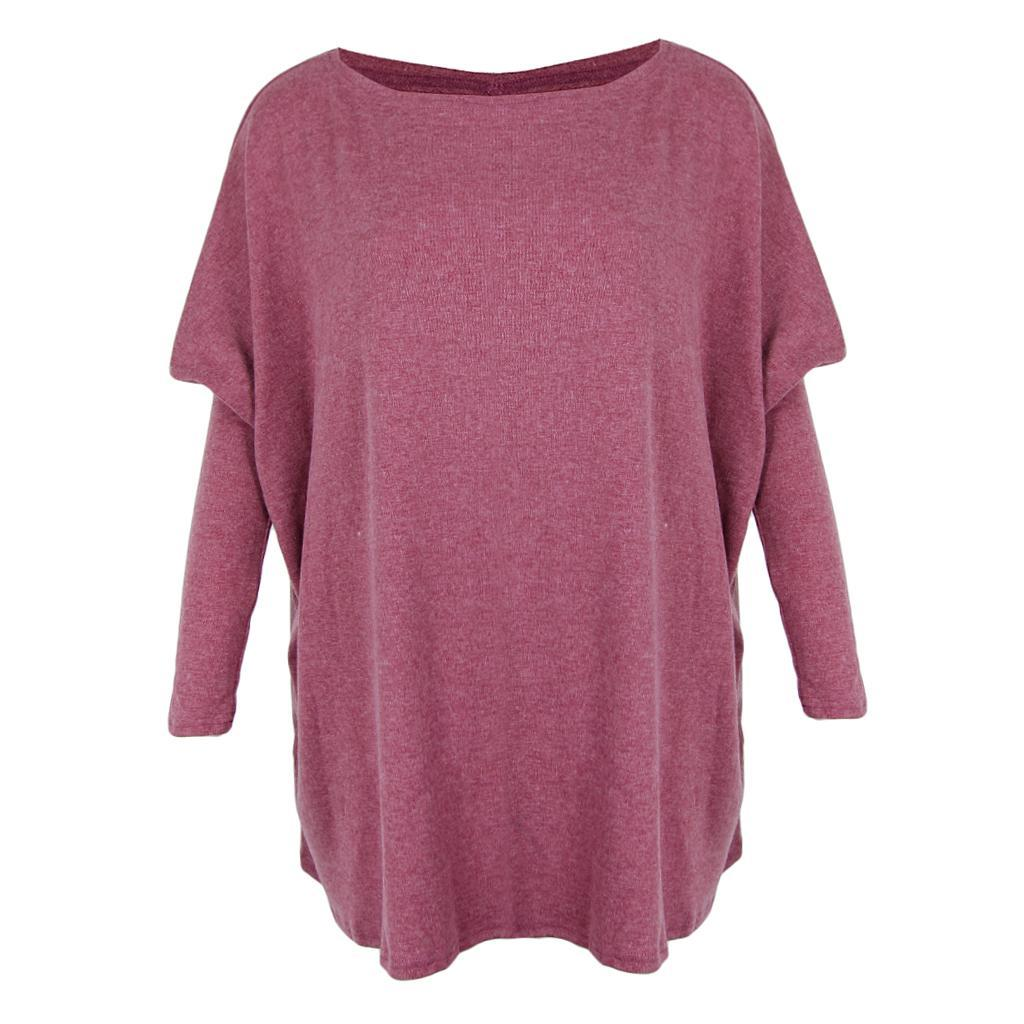 Womens-Long-Batwing-Sleeve-Solid-Pullover-Tops-Casual-Loose-Oversized-Shirts thumbnail 31
