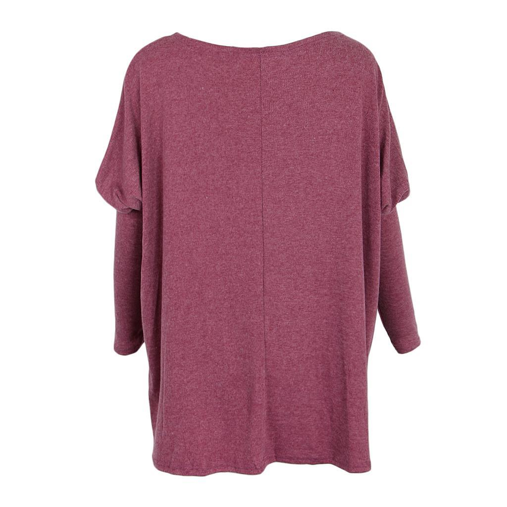 Womens-Long-Batwing-Sleeve-Solid-Pullover-Tops-Casual-Loose-Oversized-Shirts thumbnail 32