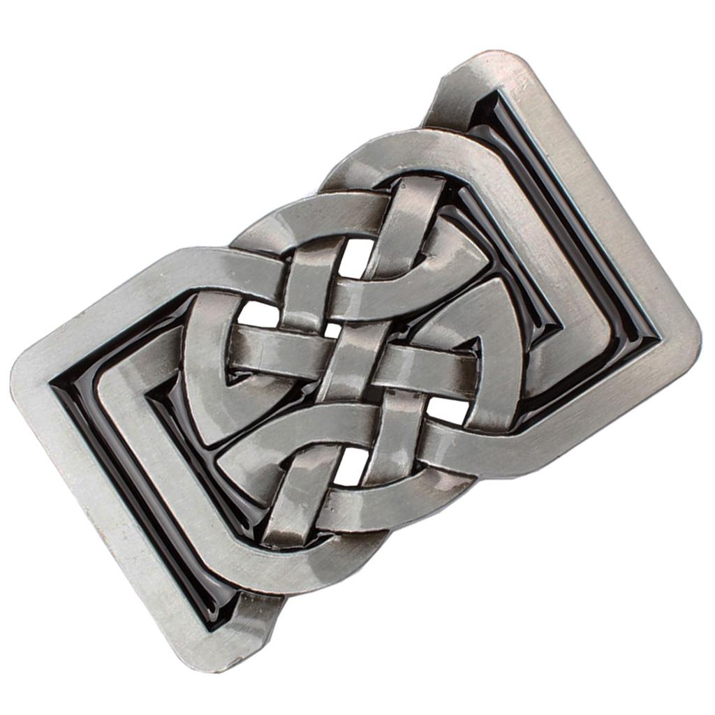 Classic rectangular Celtic pattern buckle for leather belts unisex