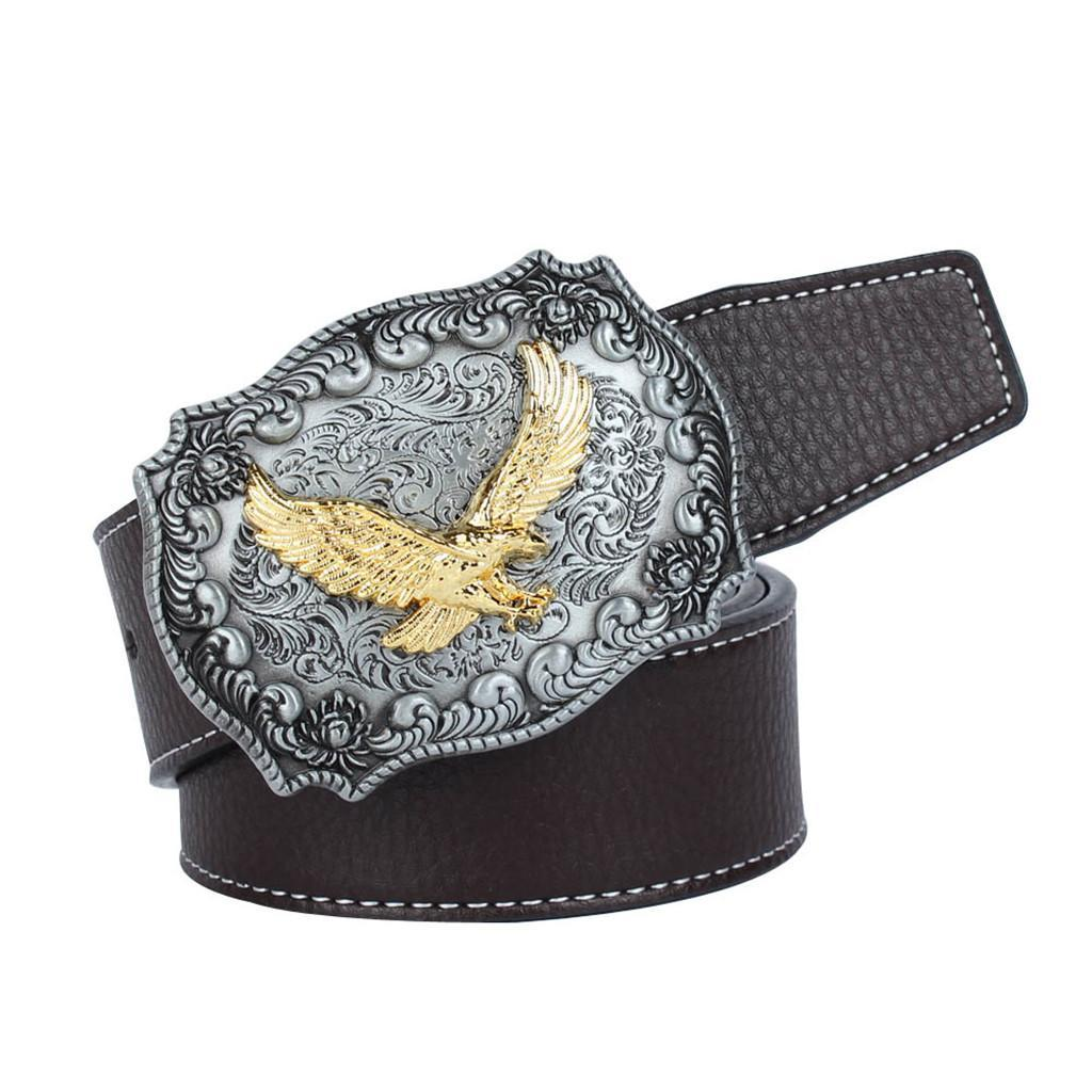 Western-Leather-Flying-Eagle-amp-Arabesque-Cowboy-Belt-Buckle-For-Men-Jeans thumbnail 17